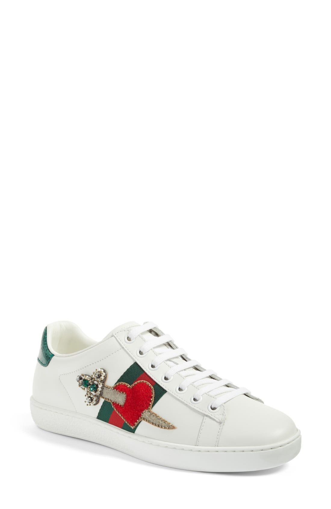 GUCCI NEW ACE PIERCED HEART LEATHER SNEAKERS, WHITE
