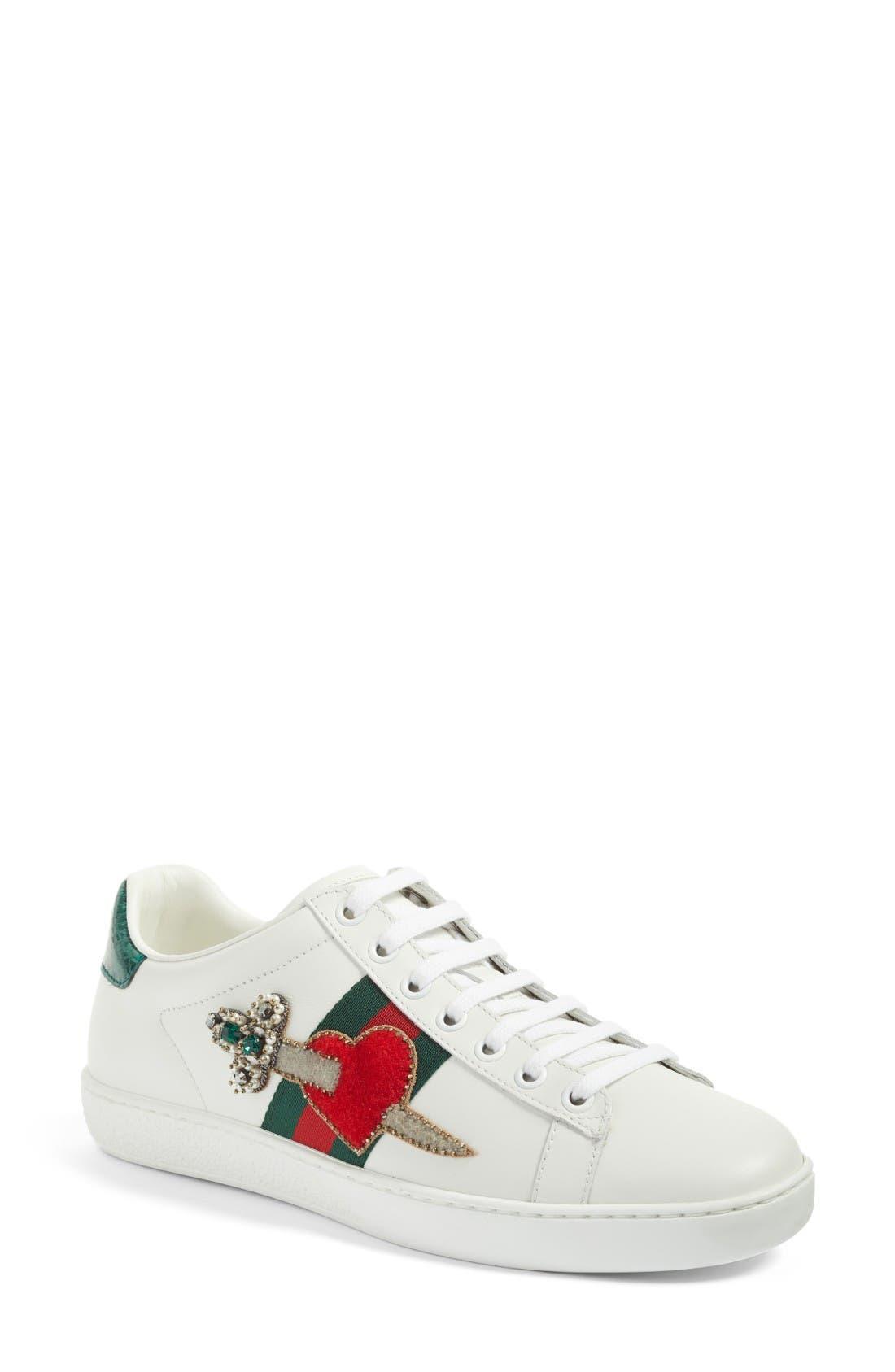New Ace Pierced Heart Sneaker,                         Main,                         color, White Multi