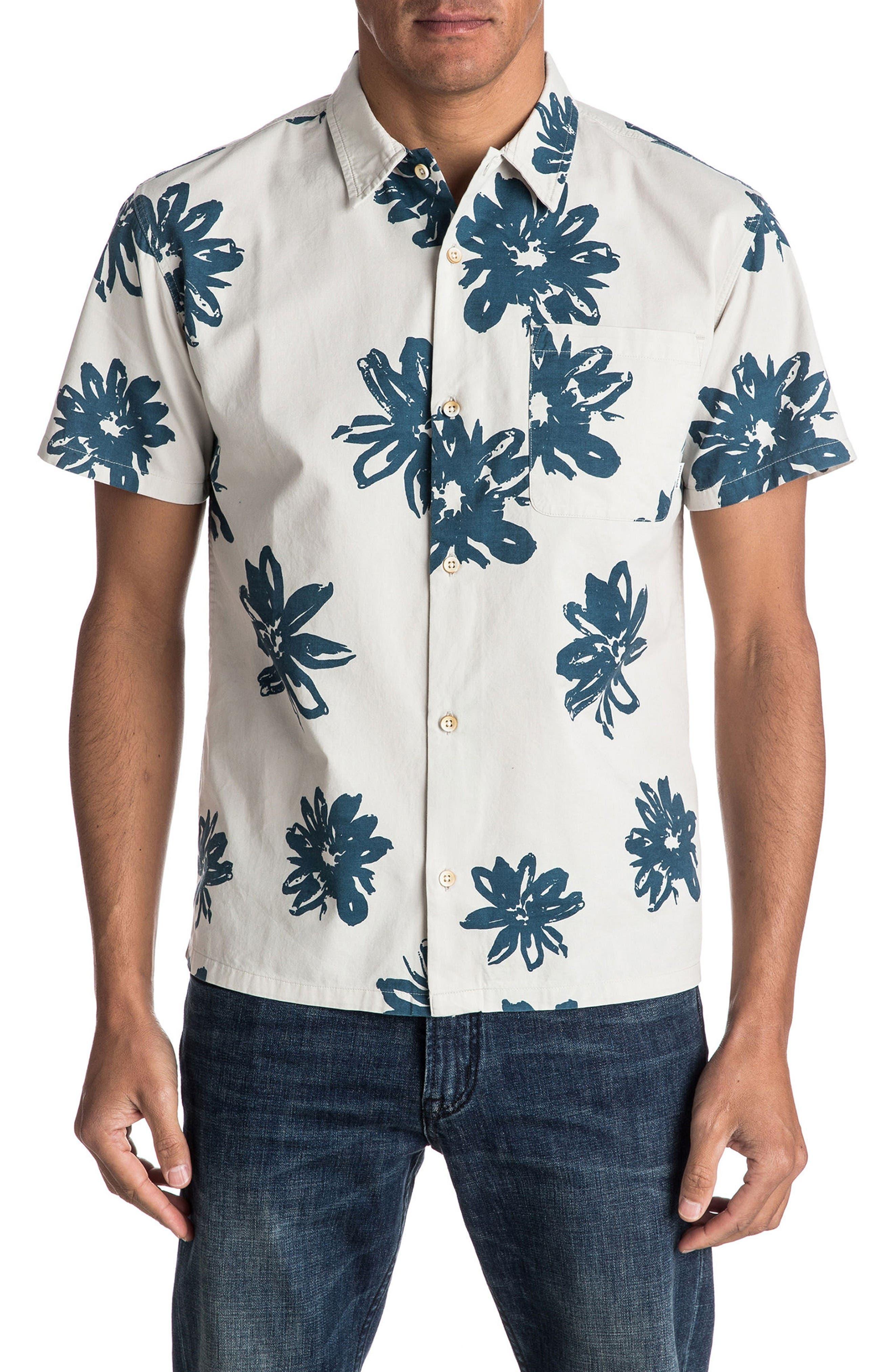 South Beach Dimes Woven Shirt,                         Main,                         color, Birch Vintage Surf