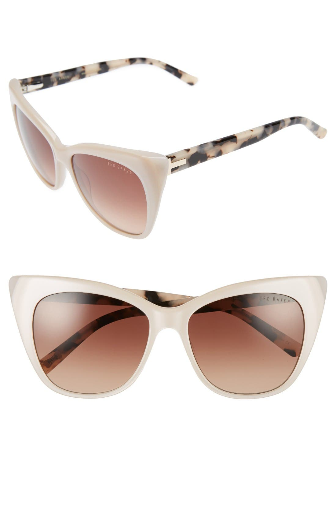 54mm Cat Eye Sunglasses,                         Main,                         color, Beige