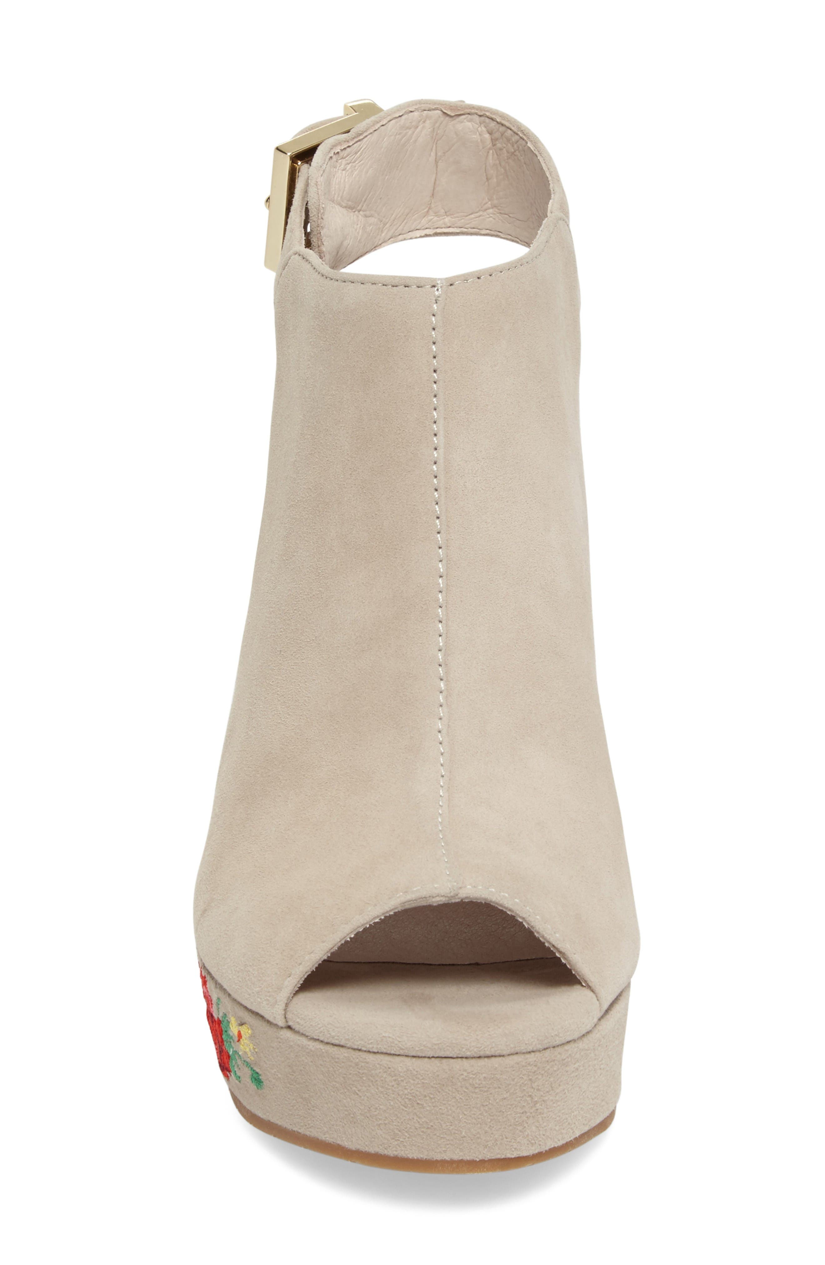 Olani Embroidered Wedge Sandal,                             Alternate thumbnail 4, color,                             Taupe Suede