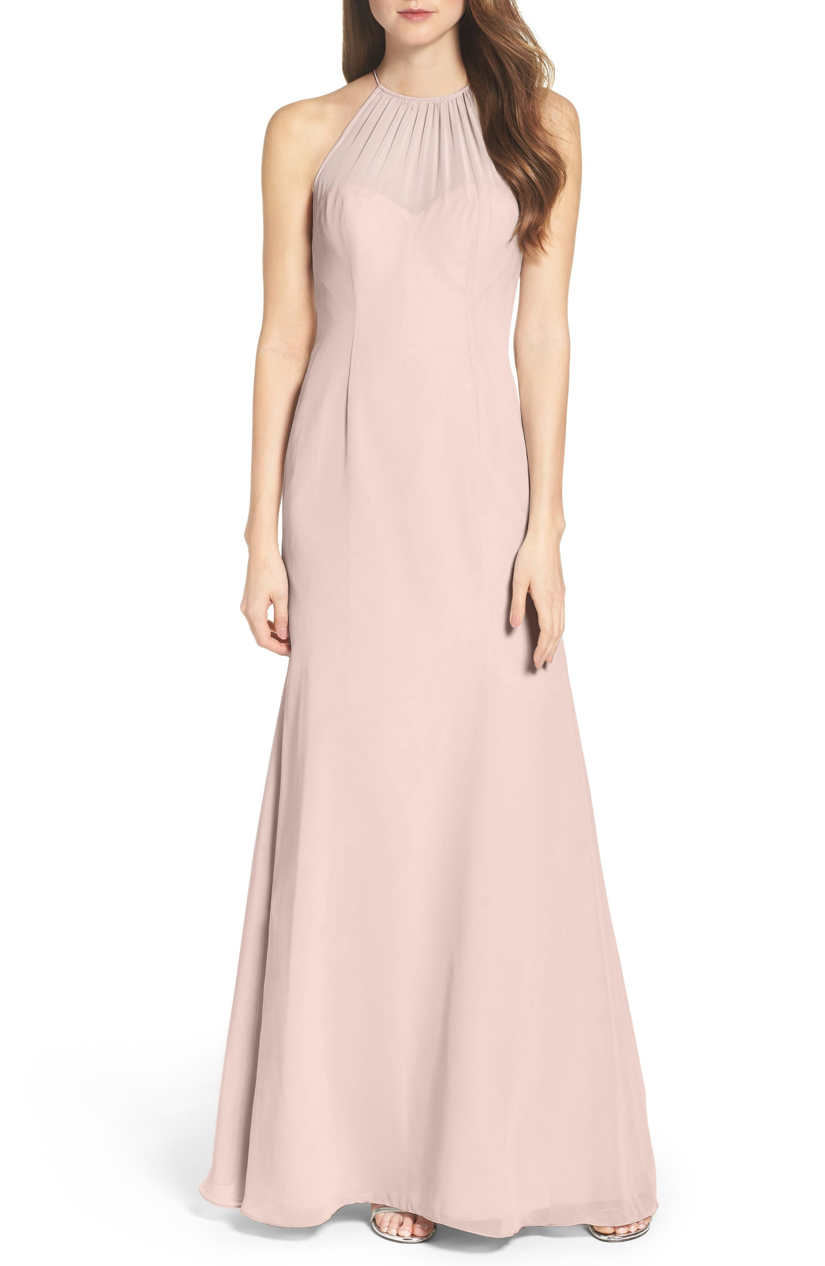 Chiffon A-Line Gown,                             Main thumbnail 1, color,                             Chateau Rose