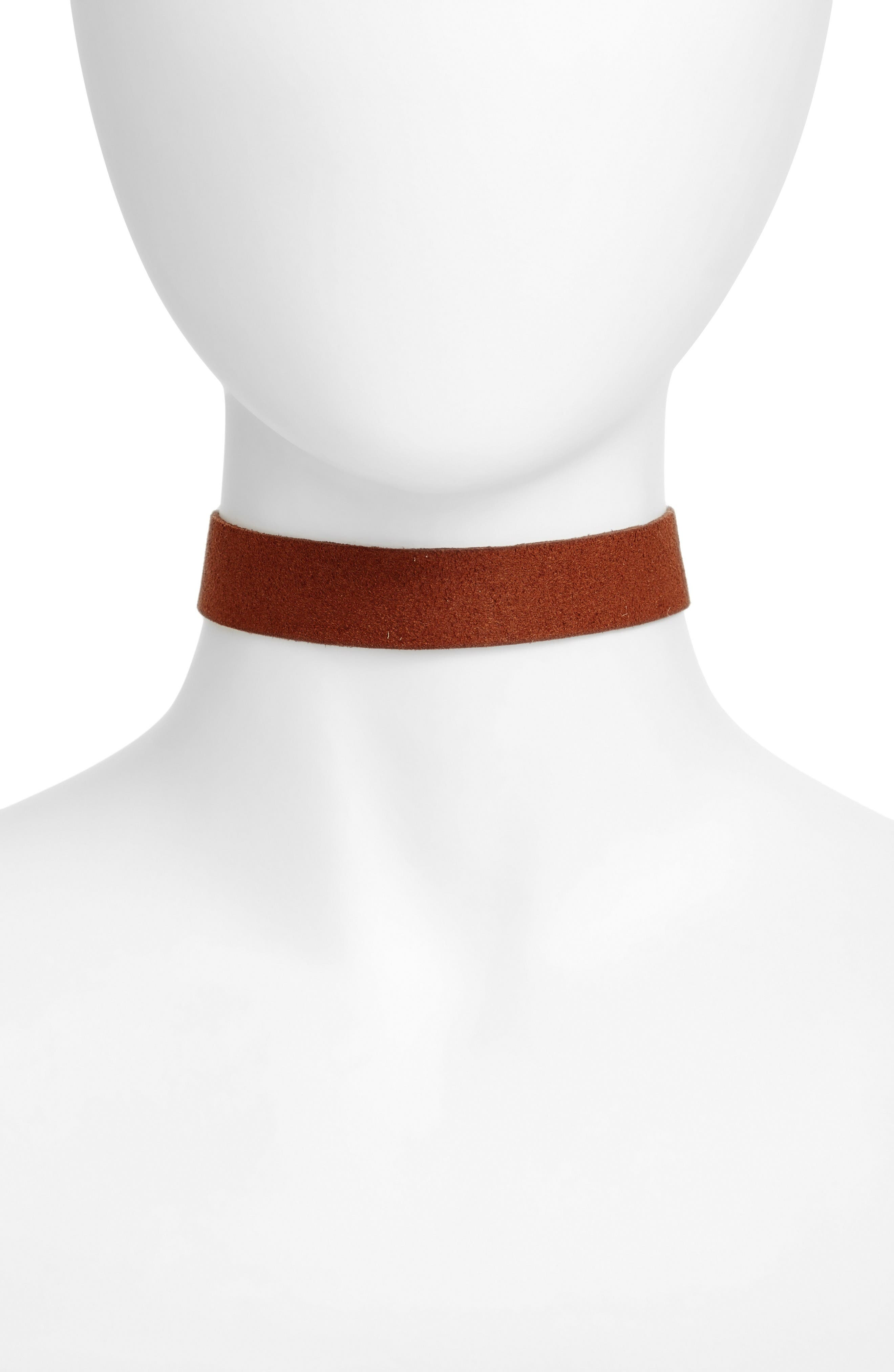 Orion Faux Suede Choker,                         Main,                         color, Gold/ Brown