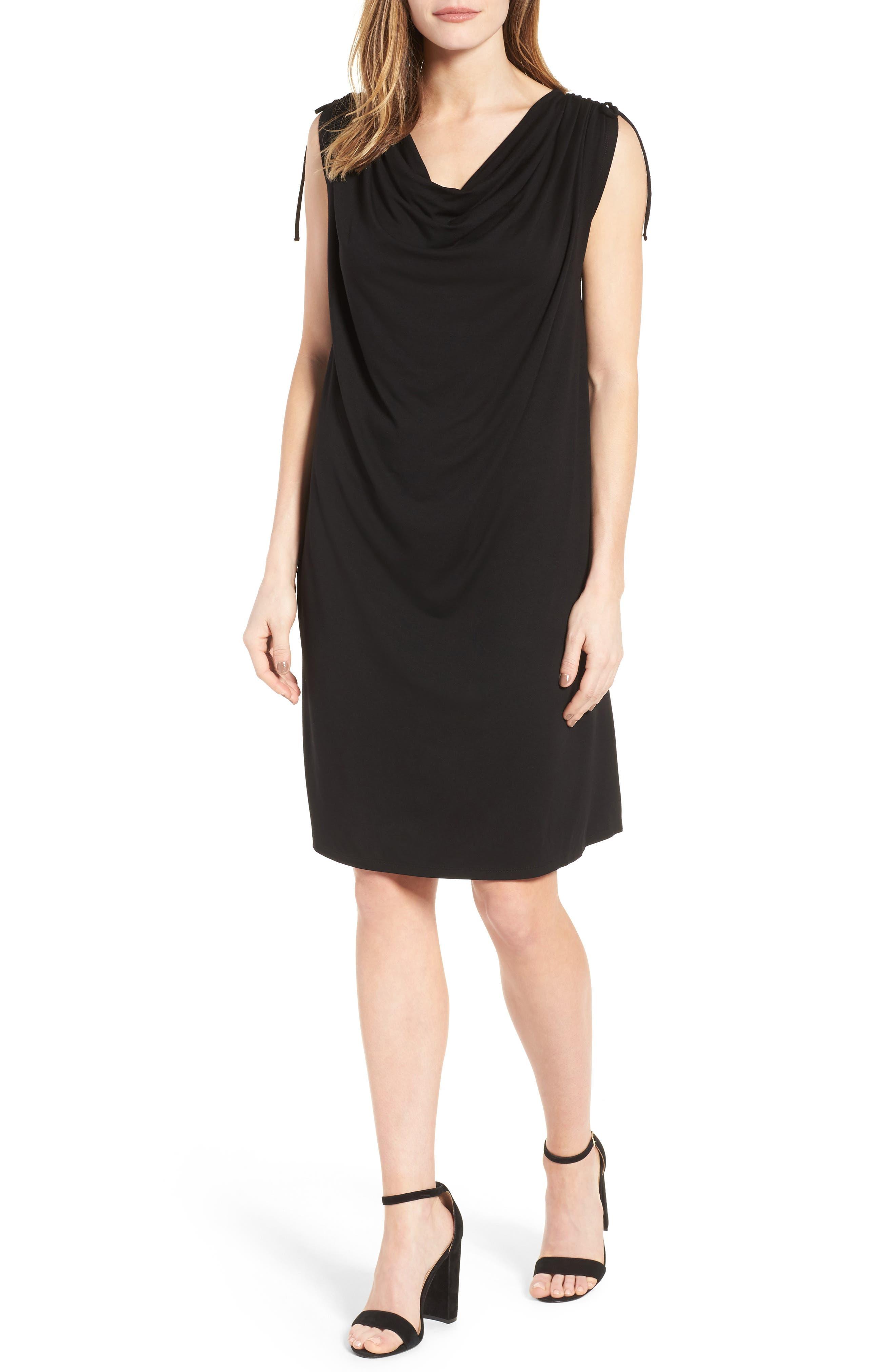 Cinch Shoulder Jersey Shift Dress,                         Main,                         color, Black