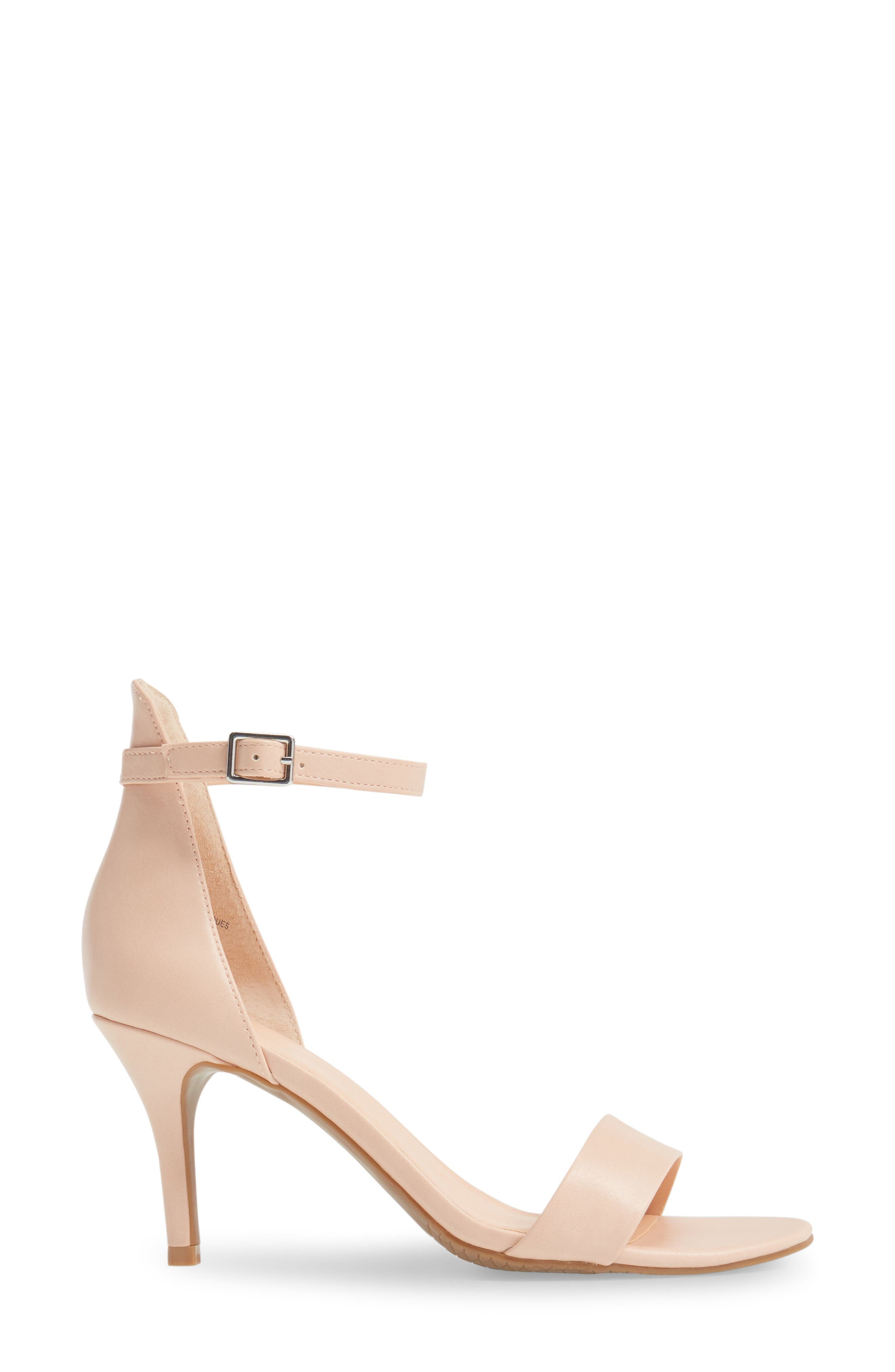 'Luminate' Open Toe Dress Sandal,                             Alternate thumbnail 3, color,                             Blush Faux Leather
