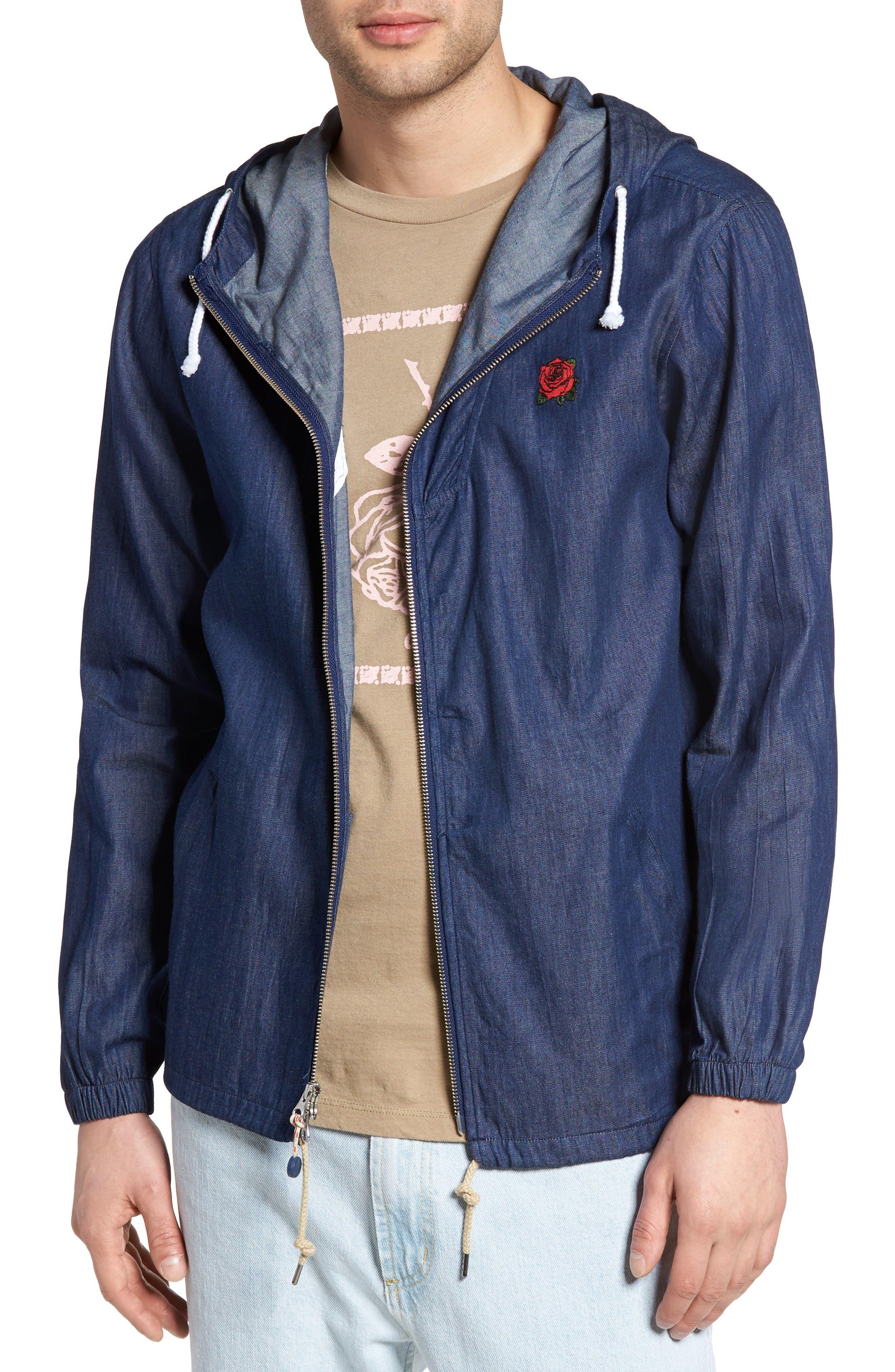 Flower District Hooded Zip Denim Jacket,                         Main,                         color, Indigo