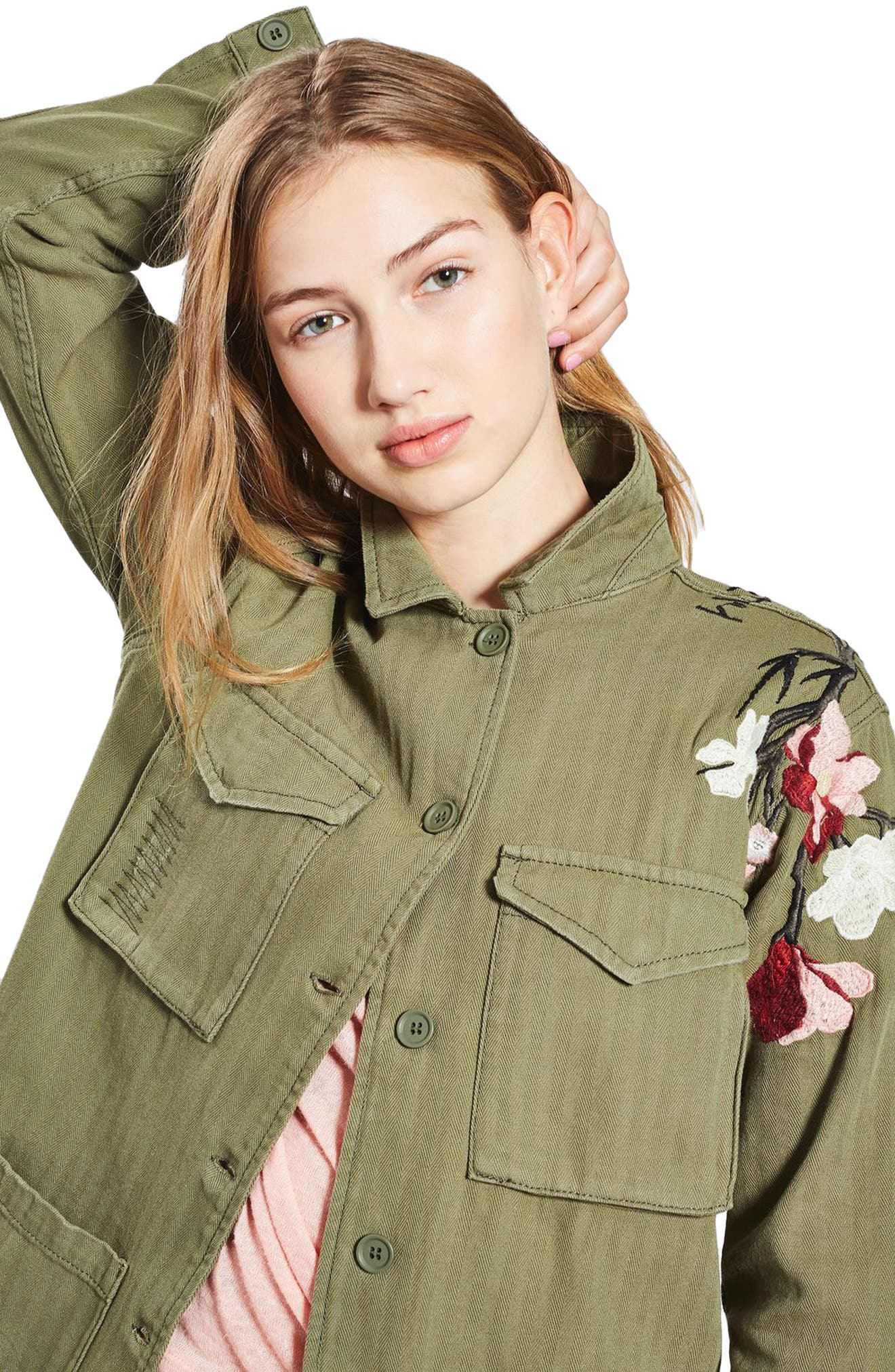 Embroidered Army Shirt Jacket,                             Alternate thumbnail 5, color,                             Olive