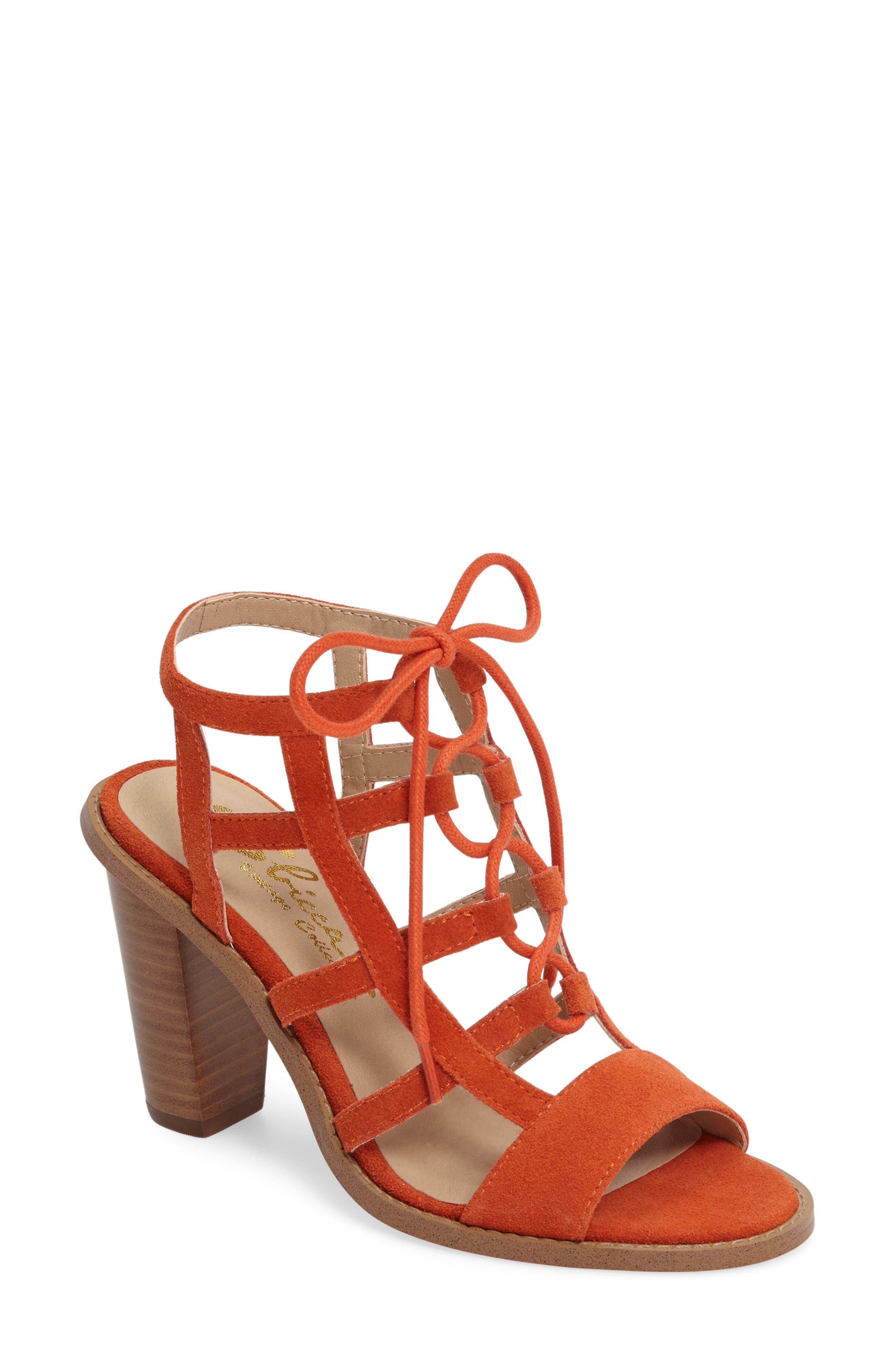 Sanni Cage Sandal,                             Main thumbnail 1, color,                             Orange Leather