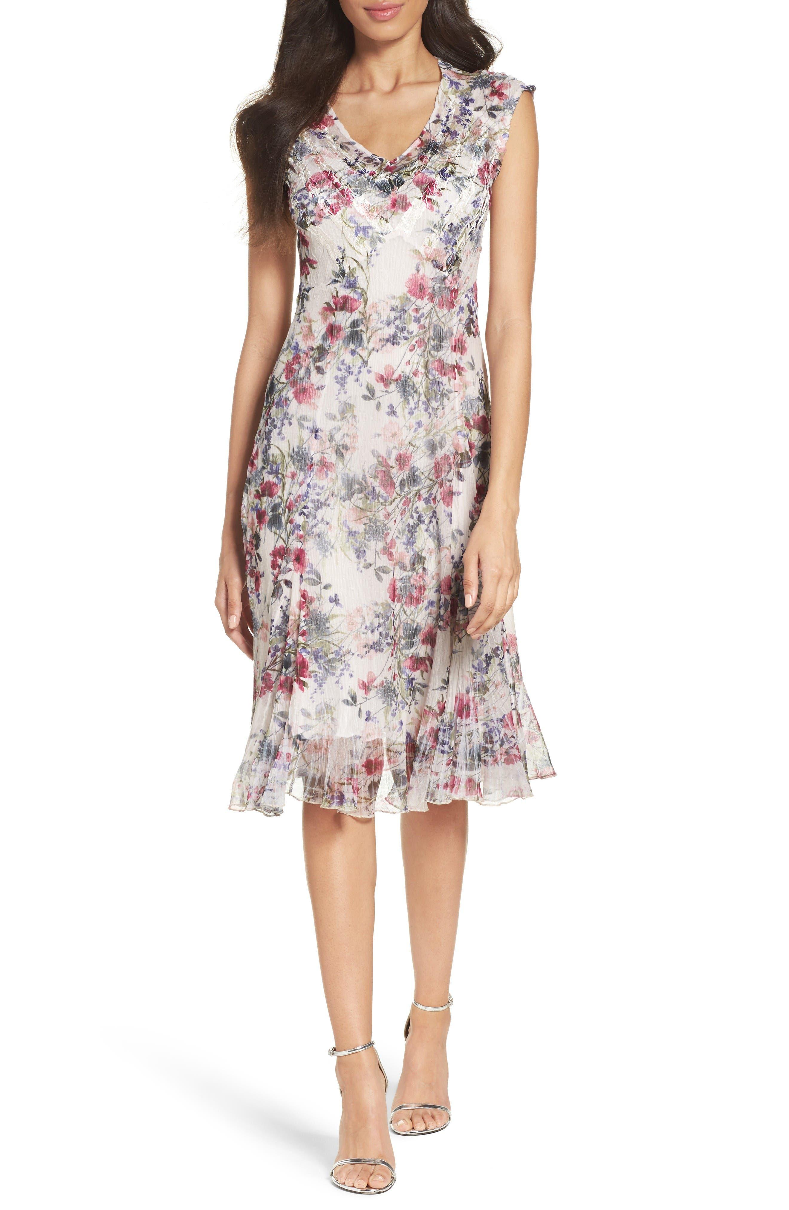 Chiffon Midi Dress,                         Main,                         color, Wildflower