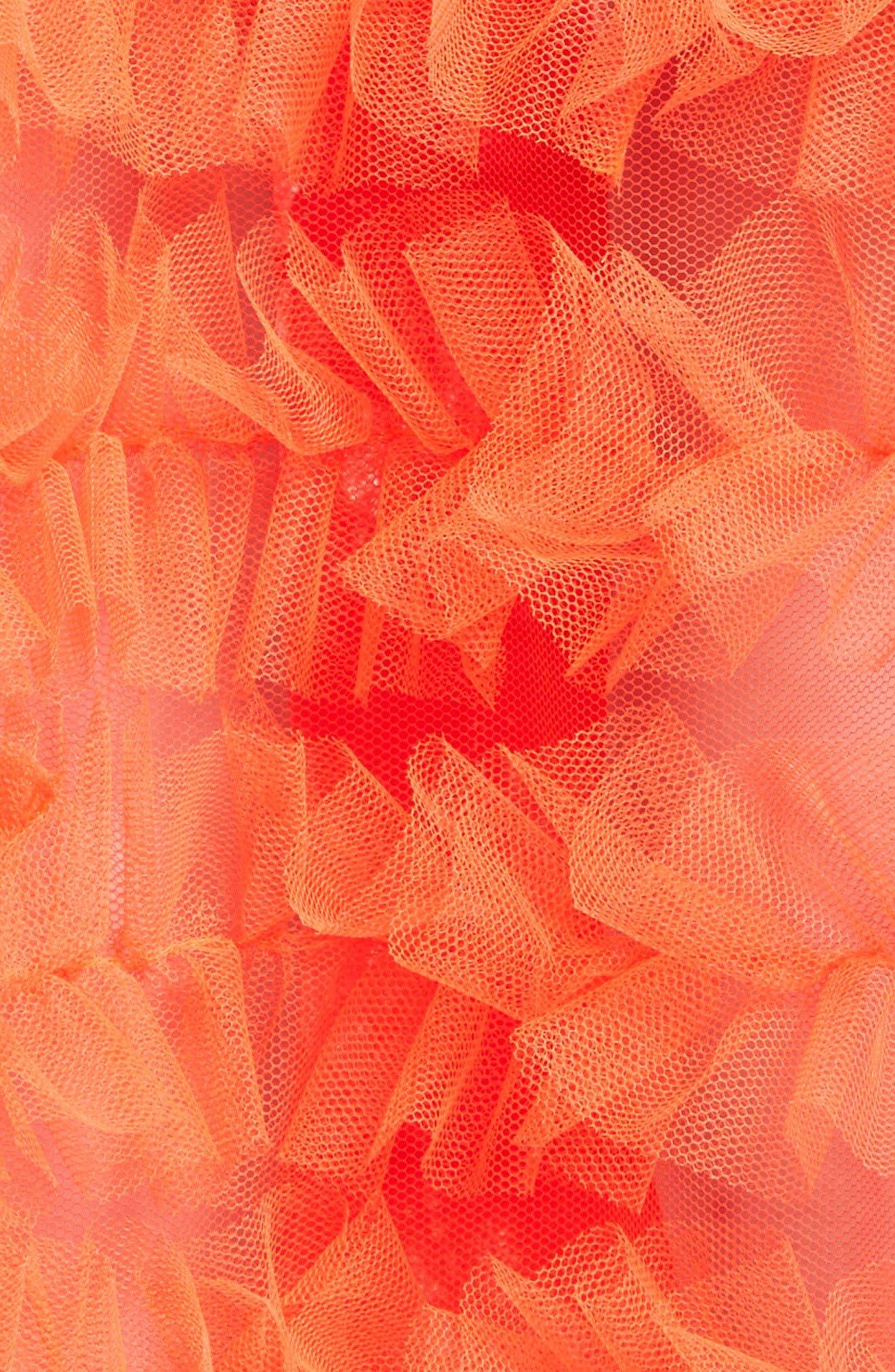 Melanie Tulle Skirt,                             Alternate thumbnail 3, color,                             Neon Tangerine