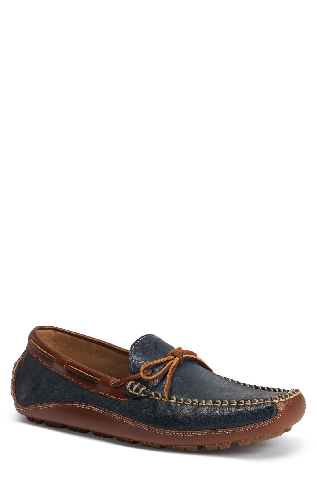 'Drake' Leather Driving Shoe,                             Main thumbnail 1, color,                             Dark Navy Leather