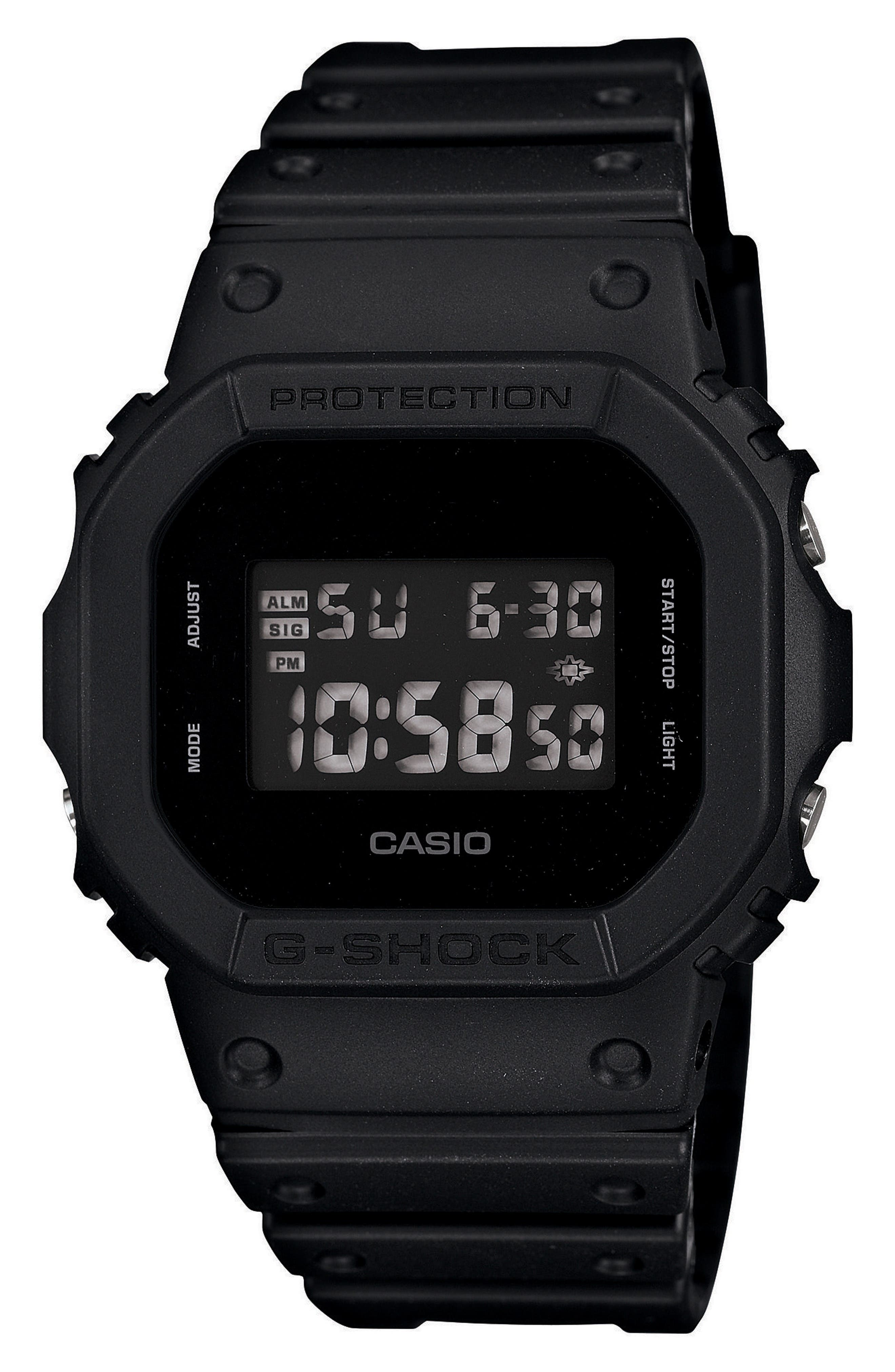 G-Shock Square Digital Watch, 48mm,                         Main,                         color, Black/ Grey