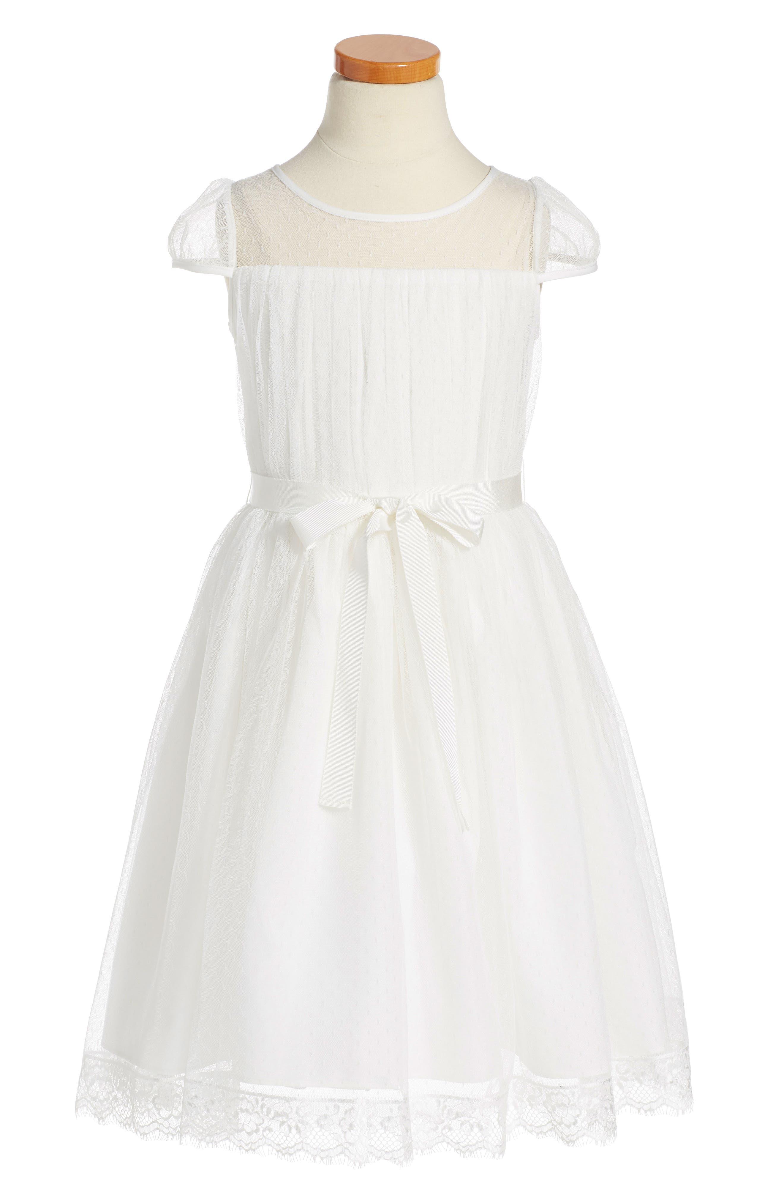 Alternate Image 1 Selected - Us Angels Point d'Esprit Dress (Toddler Girls, Little Girls & Big Girls)