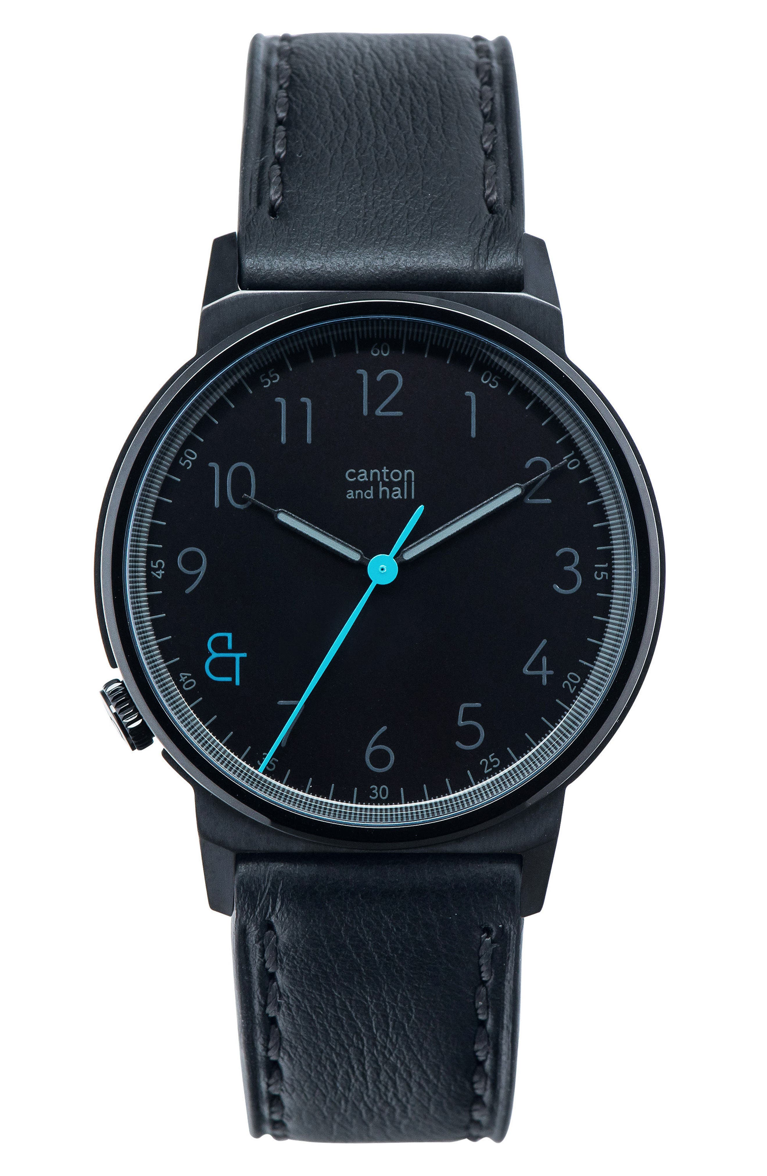 Leather Strap Watch, 40mm,                             Main thumbnail 1, color,                             Black/ Black
