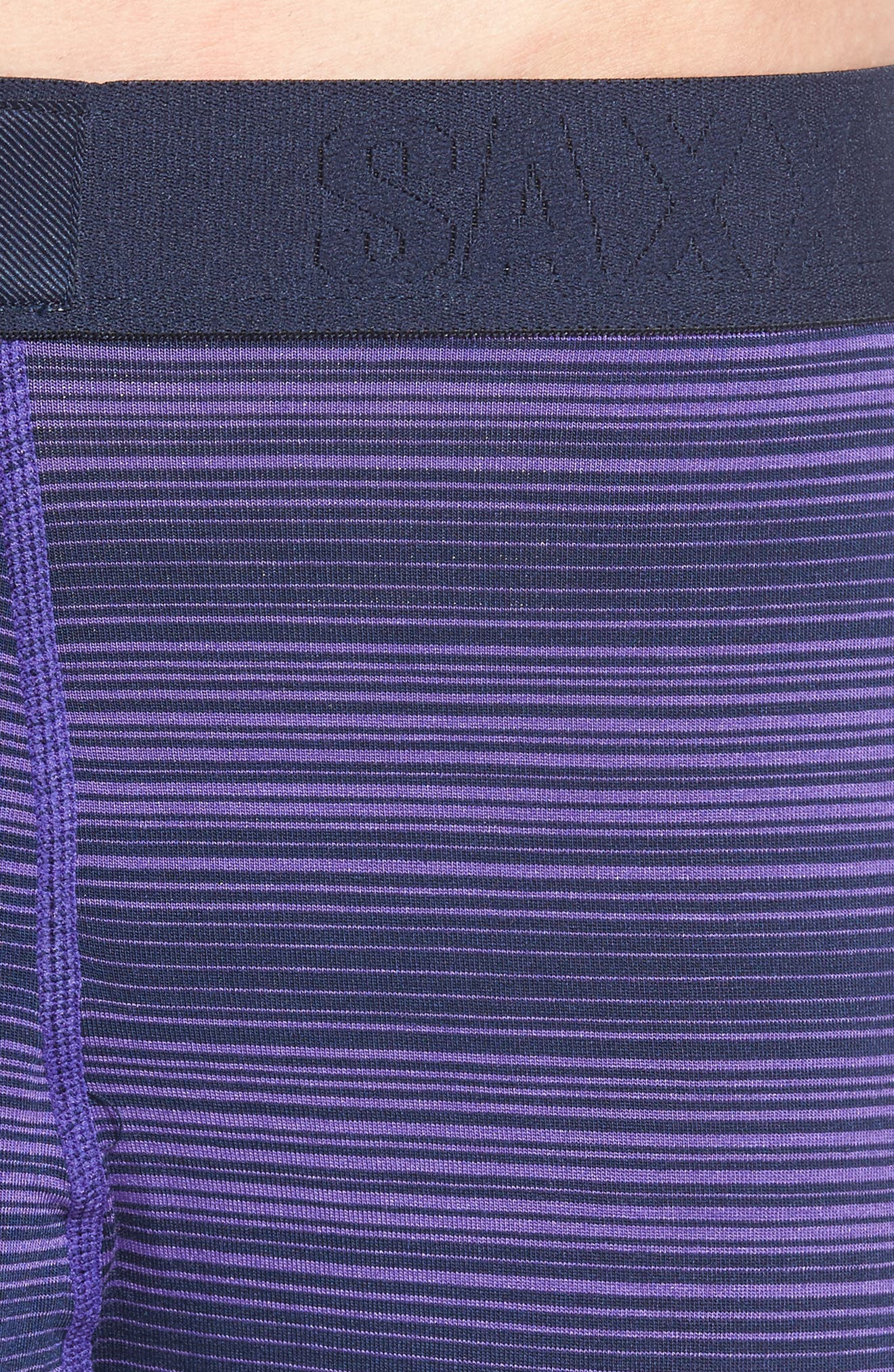 'Ultra' Stretch Boxer Briefs,                             Alternate thumbnail 5, color,                             Navy/ Purple Ombre Stripe