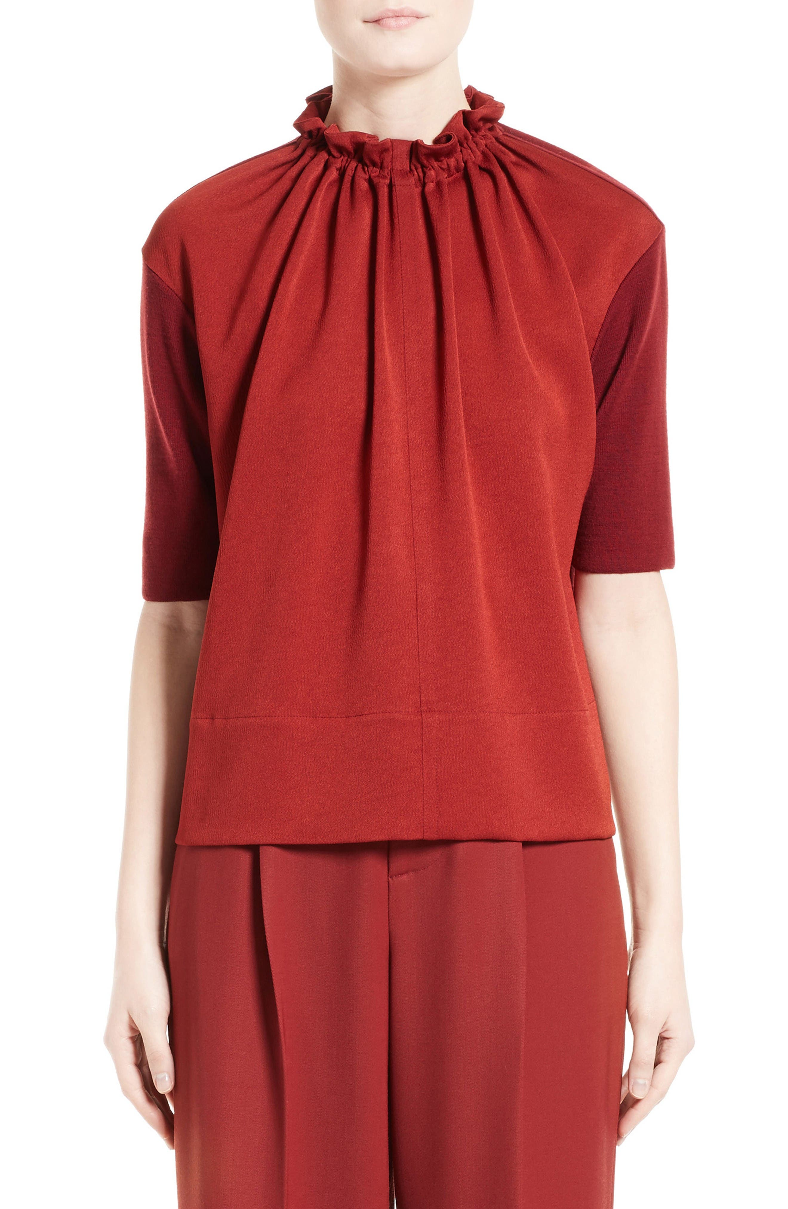 Crepe Gathered Neck Top,                         Main,                         color, Burgundy