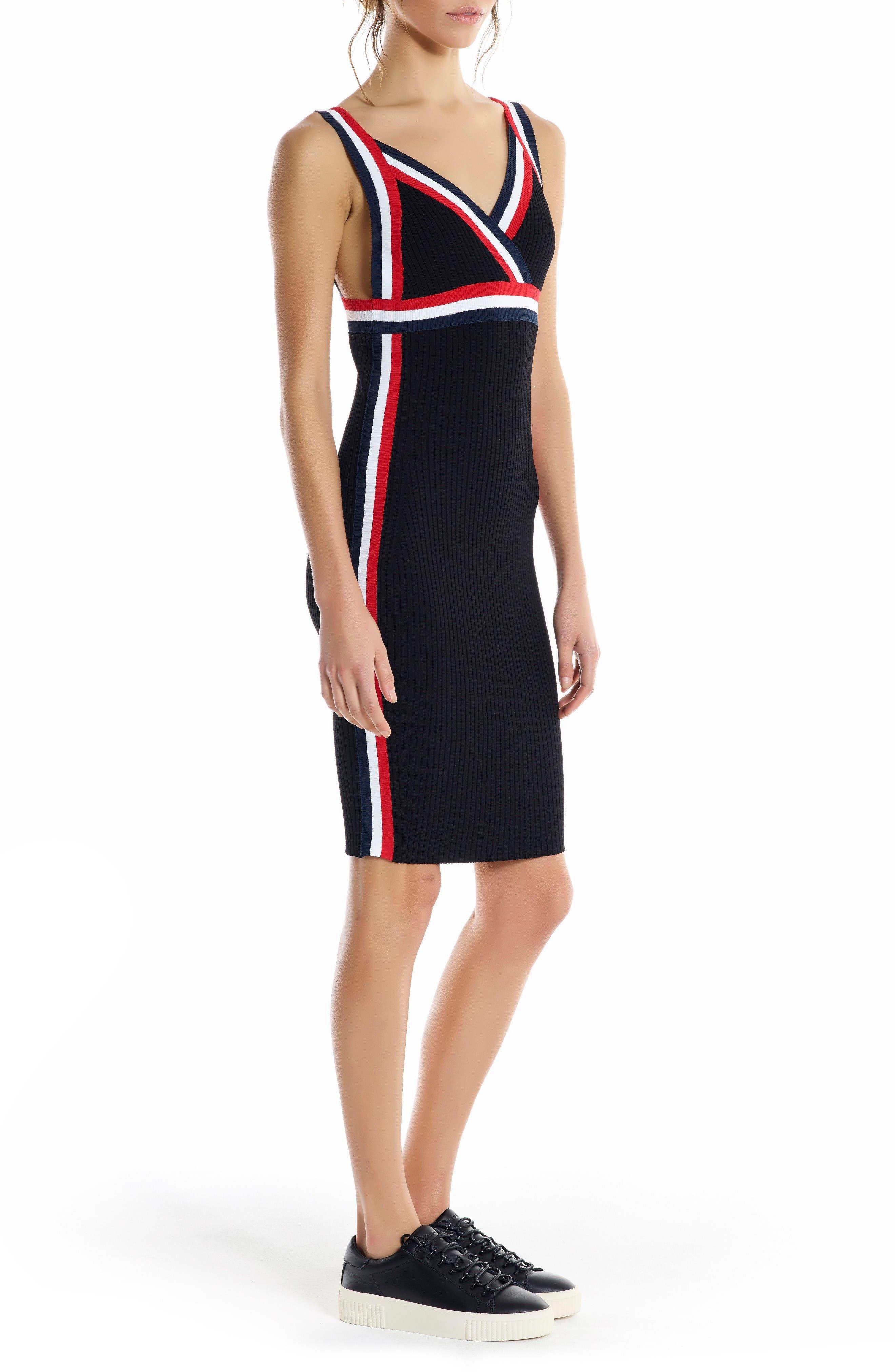 Rainbow Trim Midi Dress,                             Alternate thumbnail 3, color,                             Black Multi