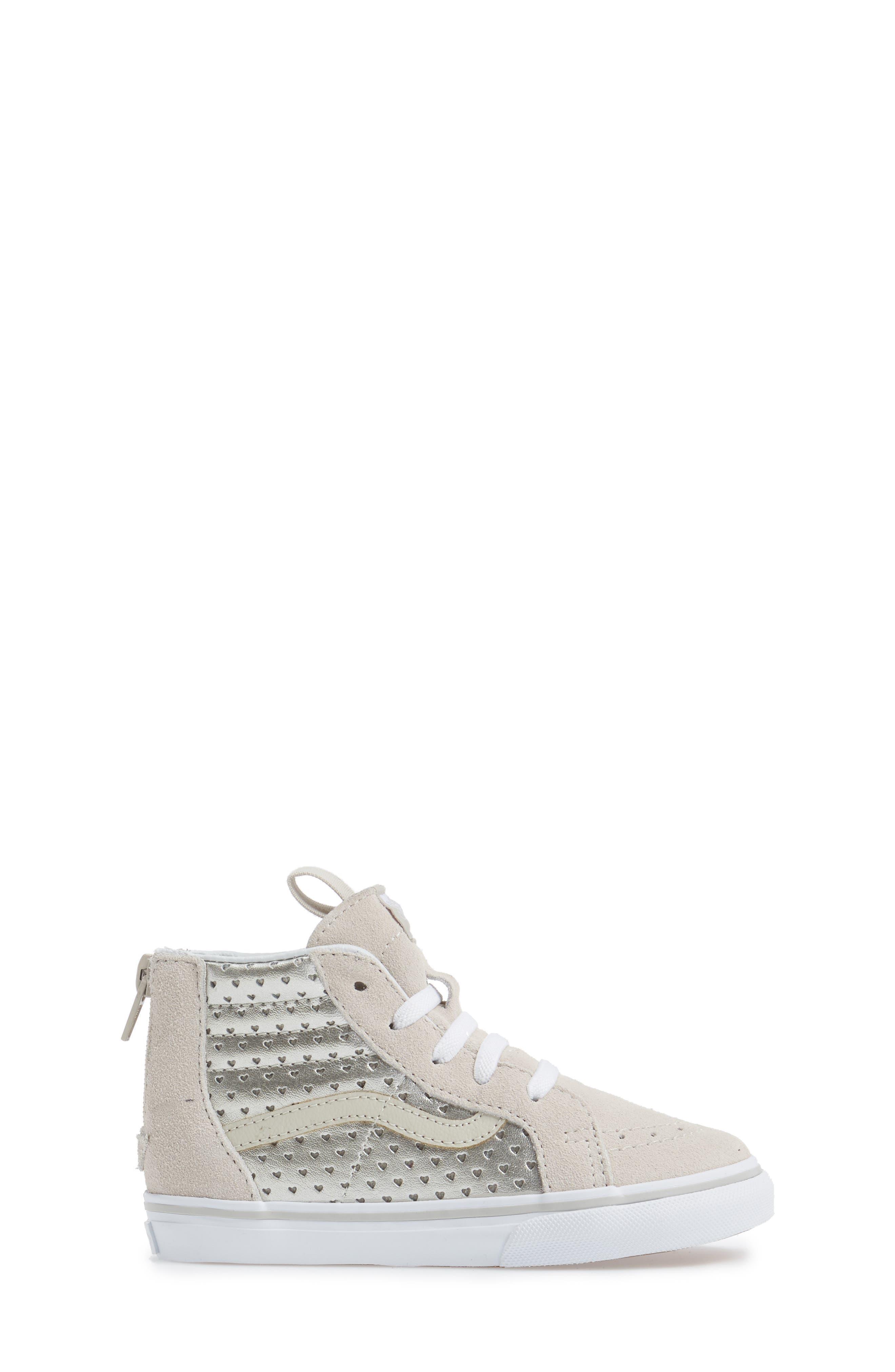 Sk8-Hi Zip Sneaker,                             Alternate thumbnail 2, color,                             Silver Metallic Heart Suede