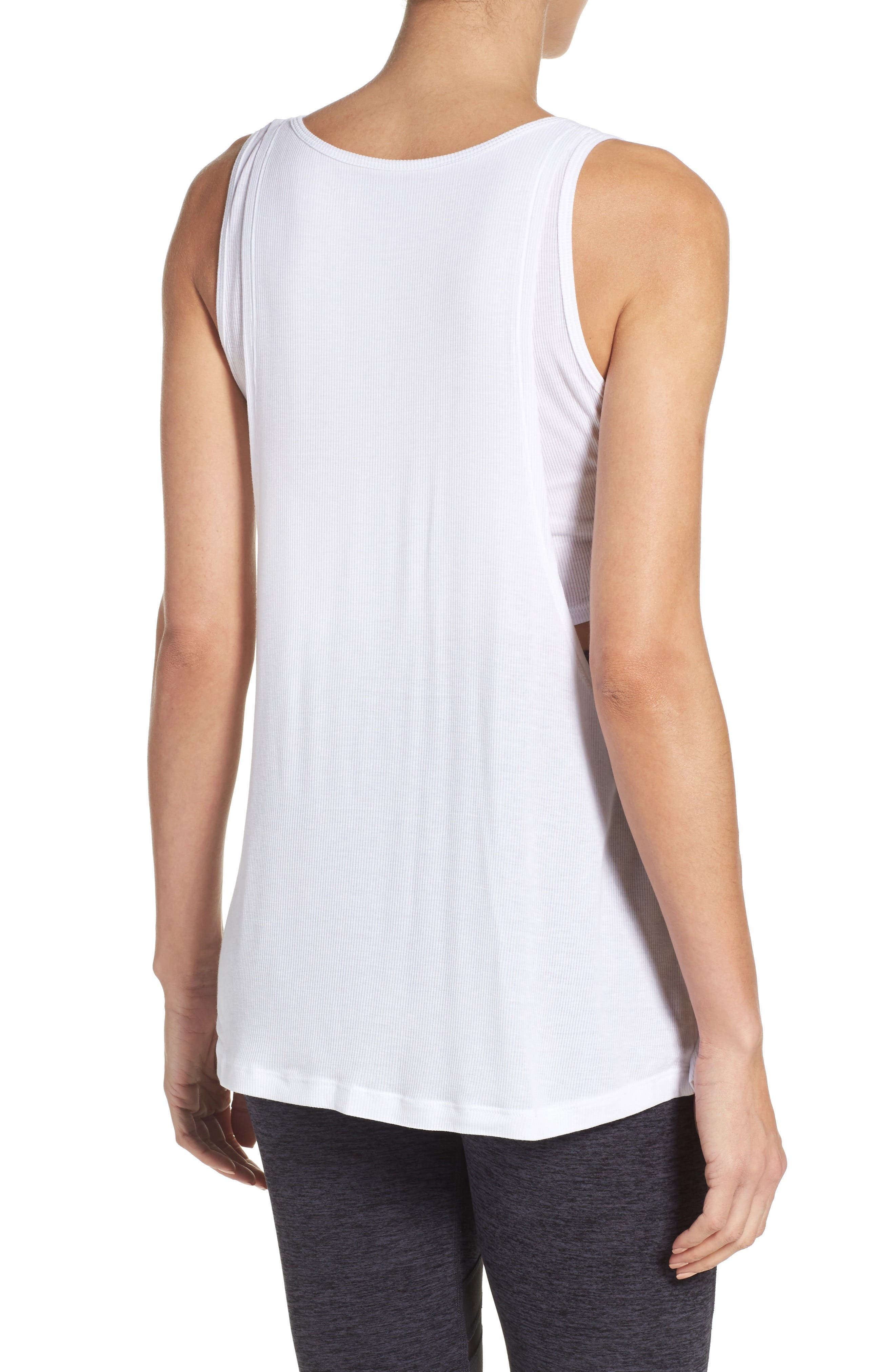 On & Off Ribbed Double LayerTank,                             Alternate thumbnail 2, color,                             White