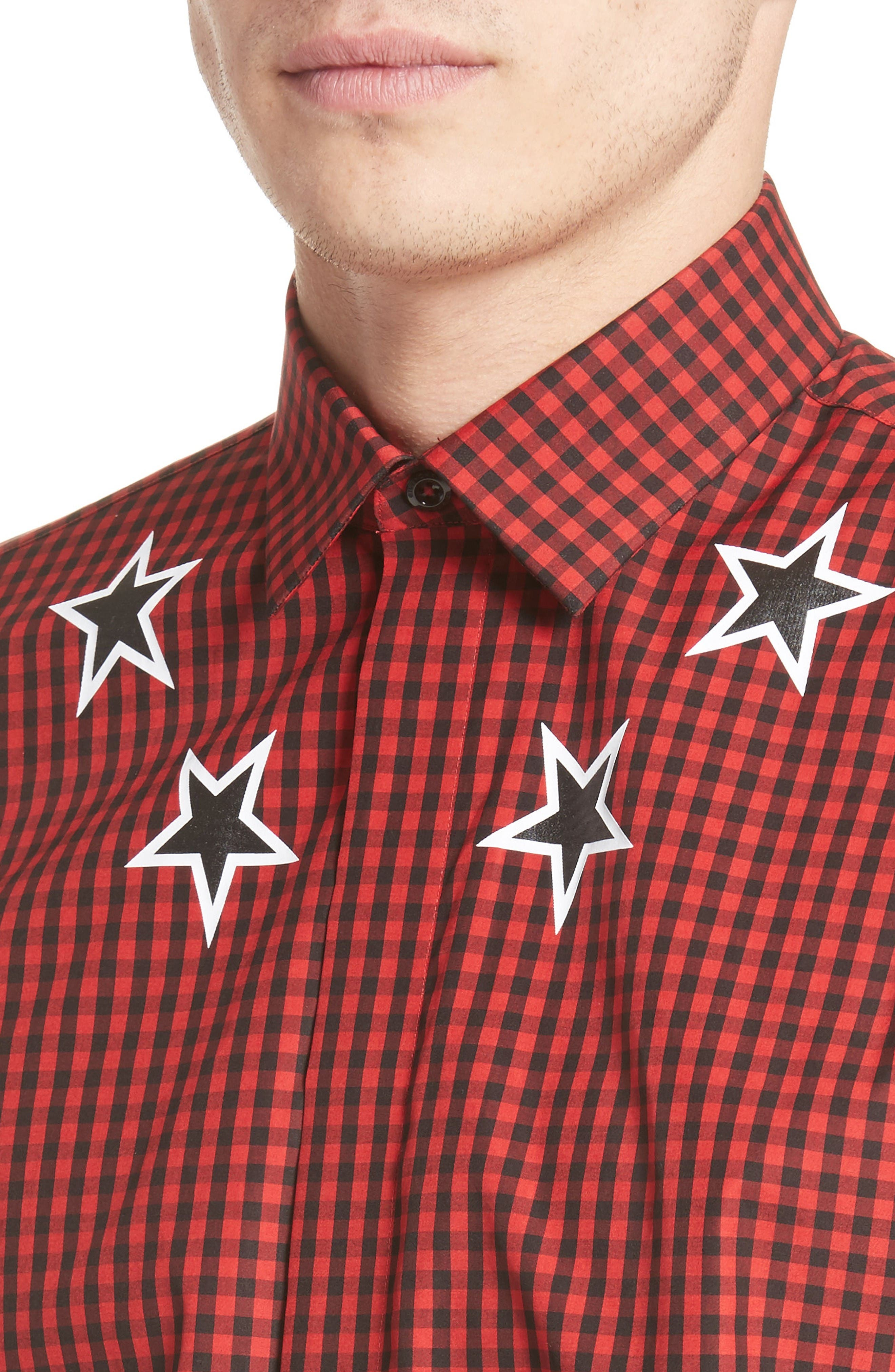 Extra Trim Fit Star Gingham Sport Shirt,                             Alternate thumbnail 4, color,                             Red