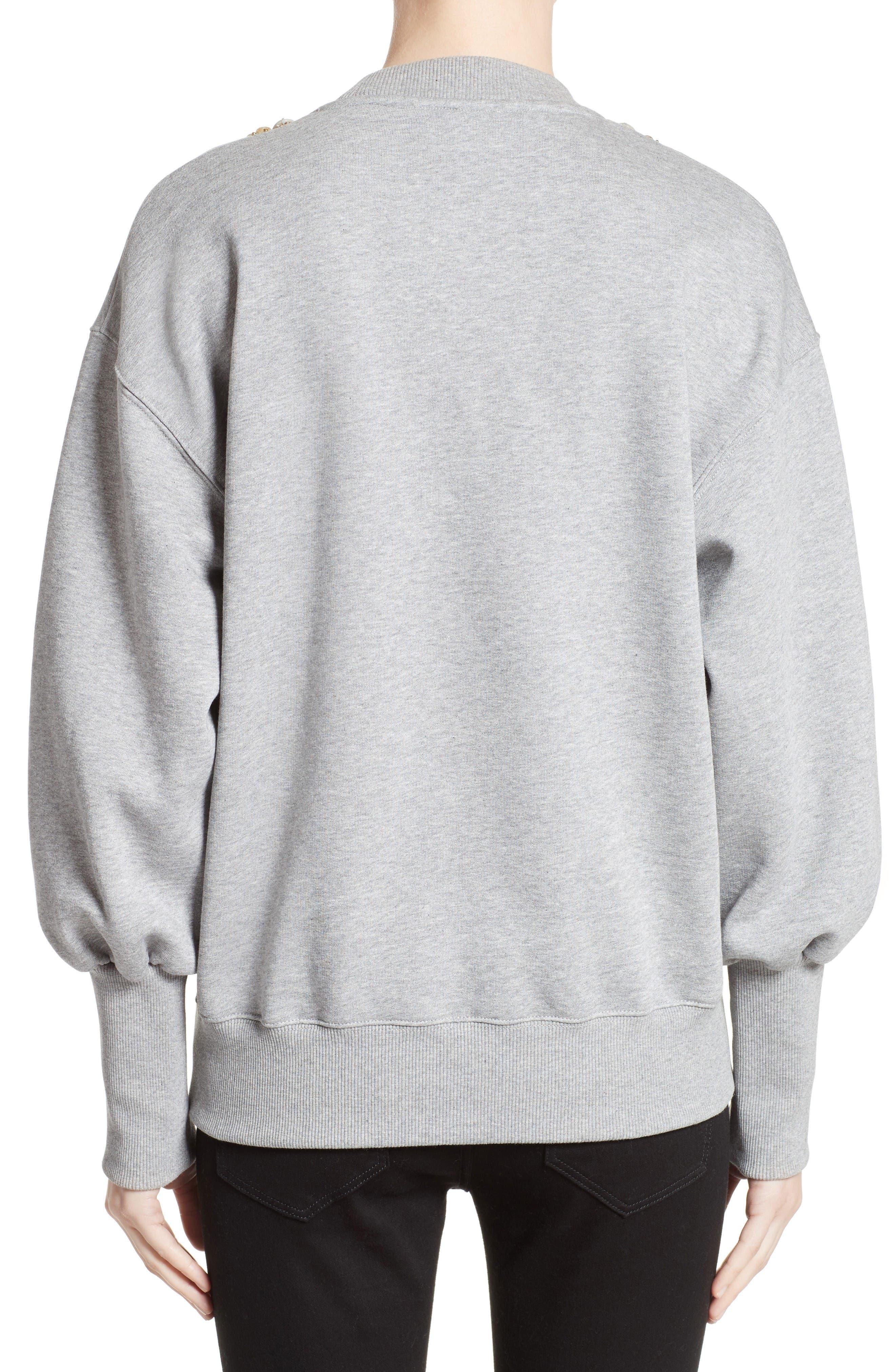 Juliano Embellished Sweatshirt,                             Alternate thumbnail 2, color,                             Pale Grey Melange