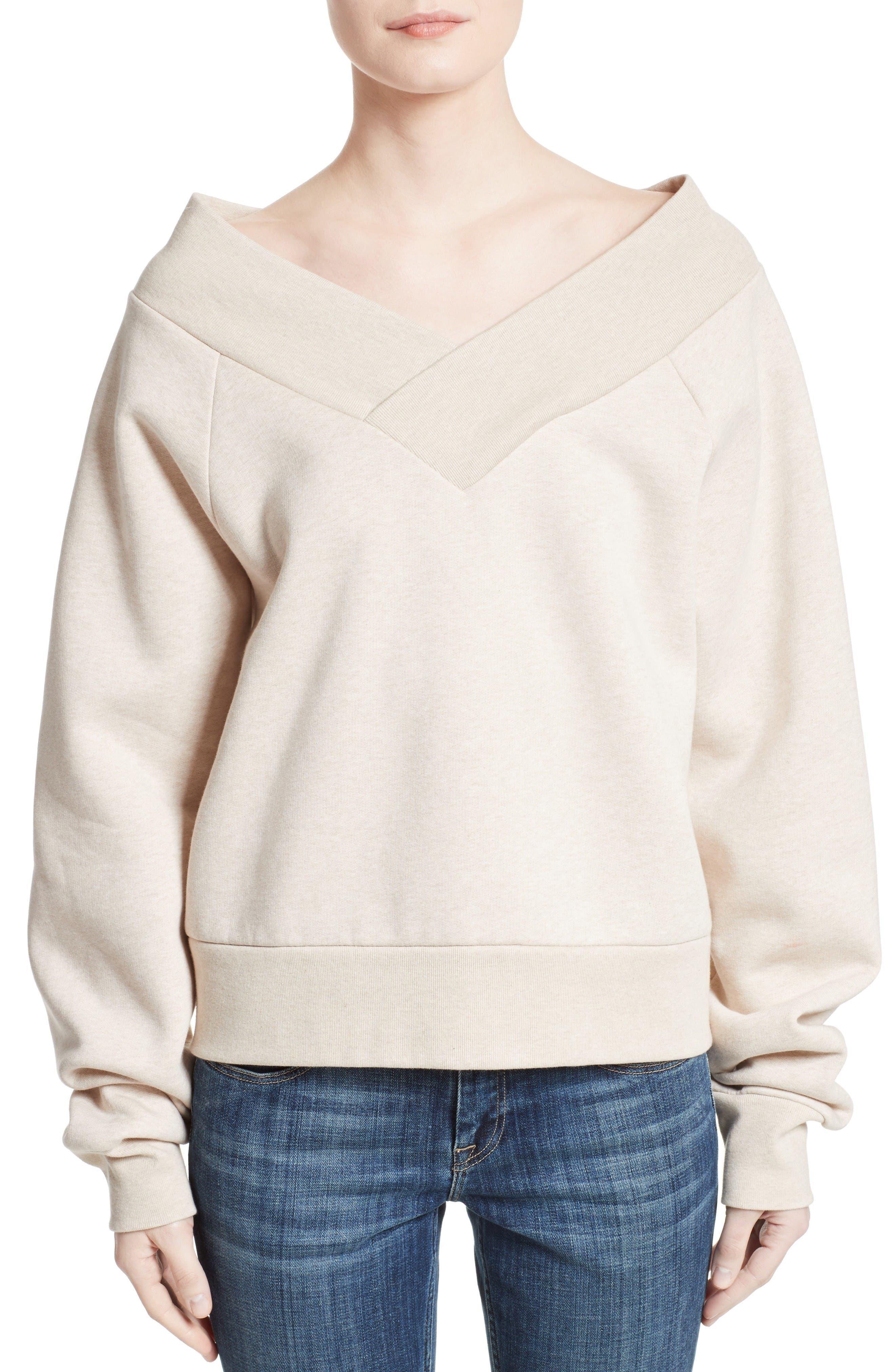 Falacho V-Neck Sweatshirt,                         Main,                         color, Oatmeal Melange