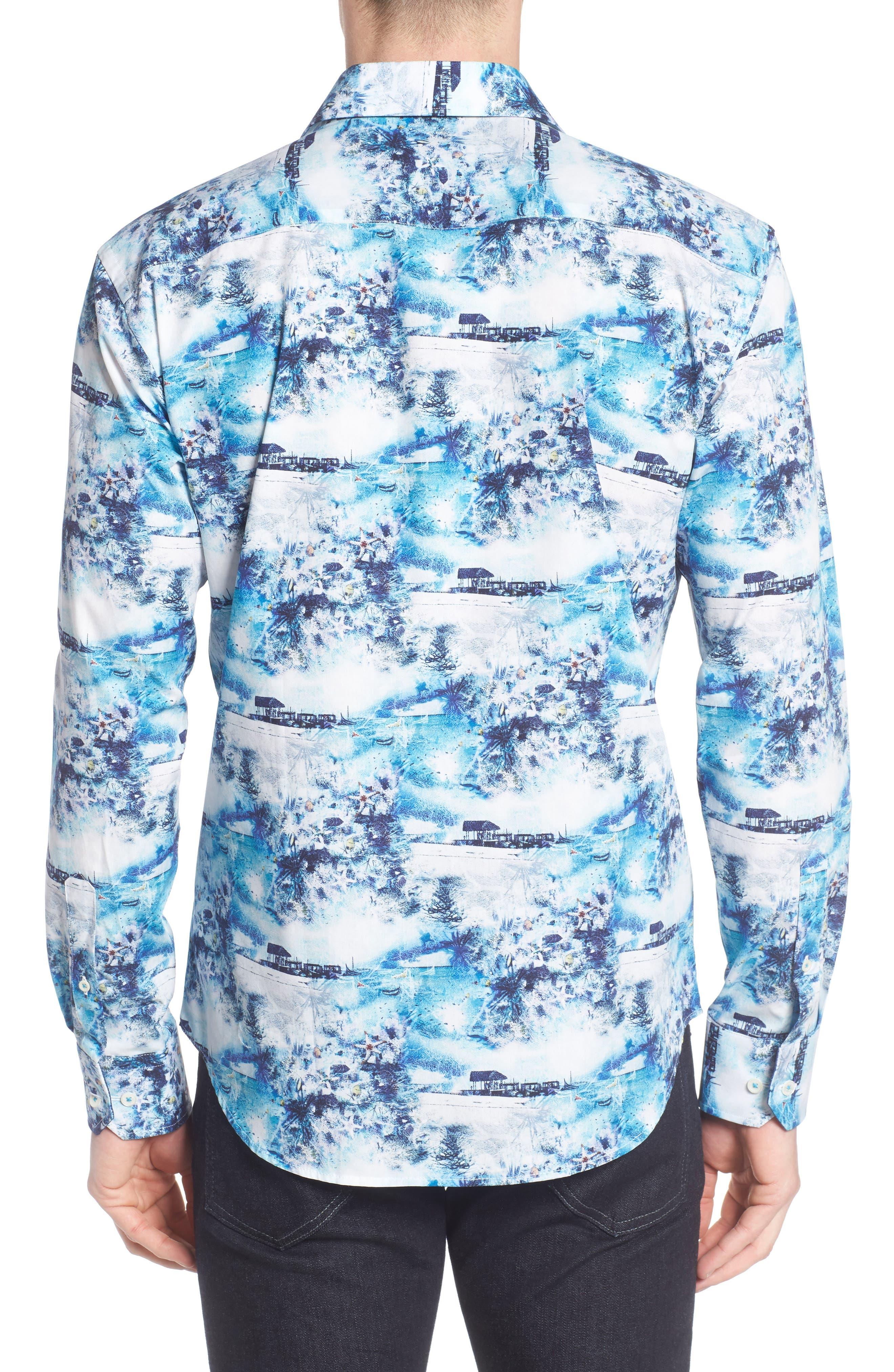 Shaped Fit Ocean Print Sport Shirt,                             Alternate thumbnail 2, color,                             Turquoise