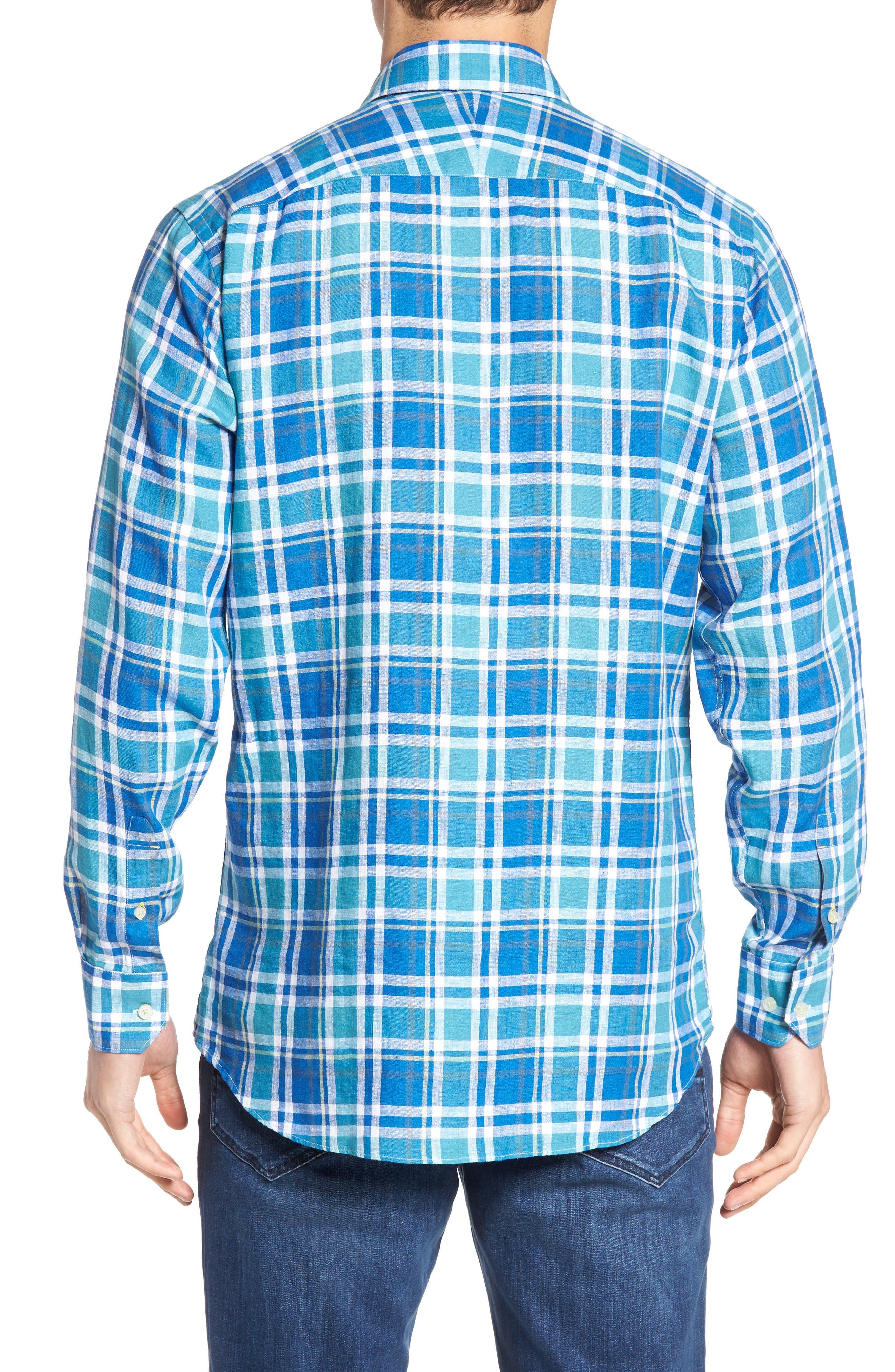 Crespi IV Tailored Fit Sport Shirt,                             Alternate thumbnail 3, color,                             Teal