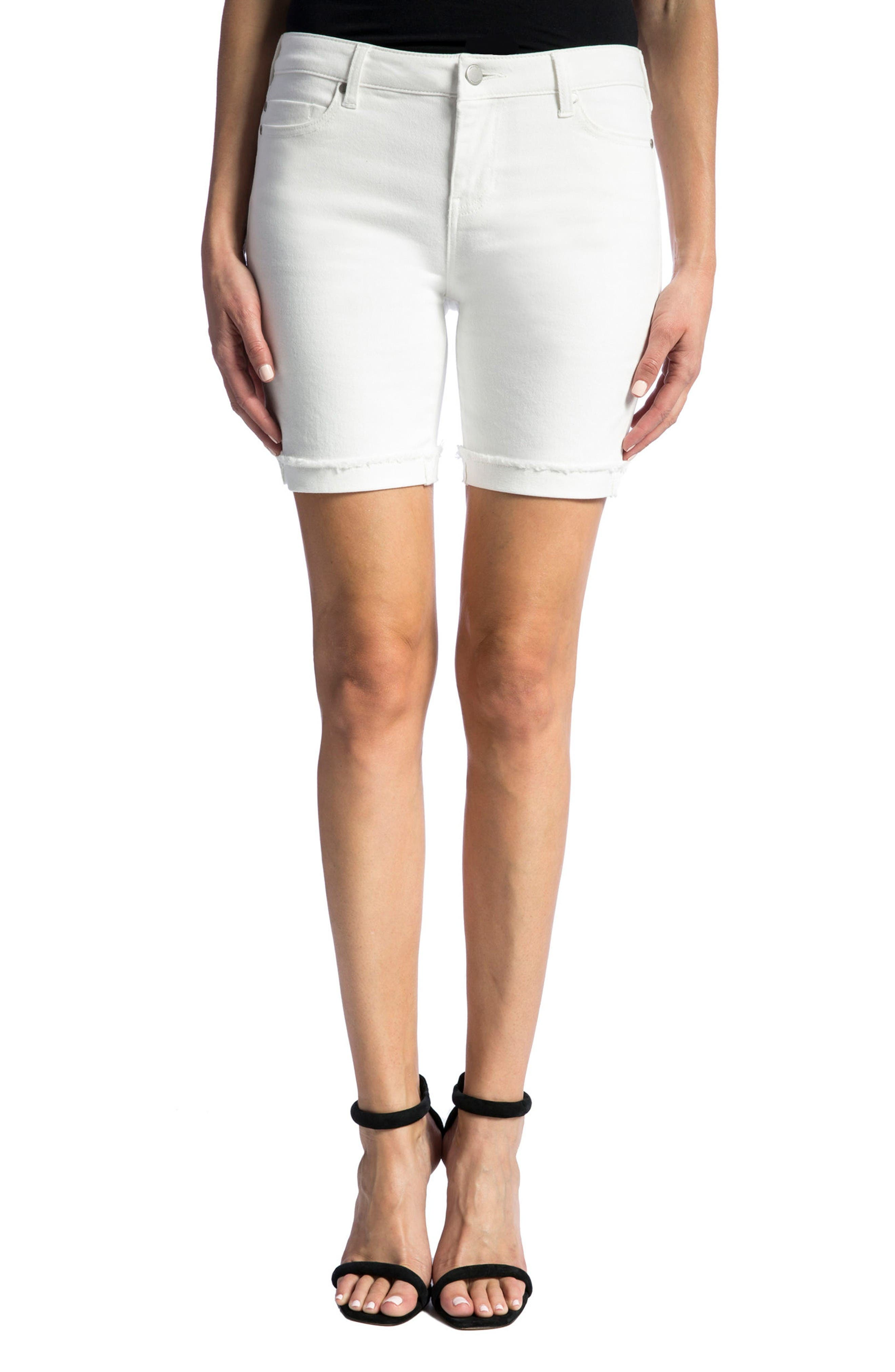 Corine Cuffed Denim Shorts,                             Main thumbnail 1, color,                             Bright White