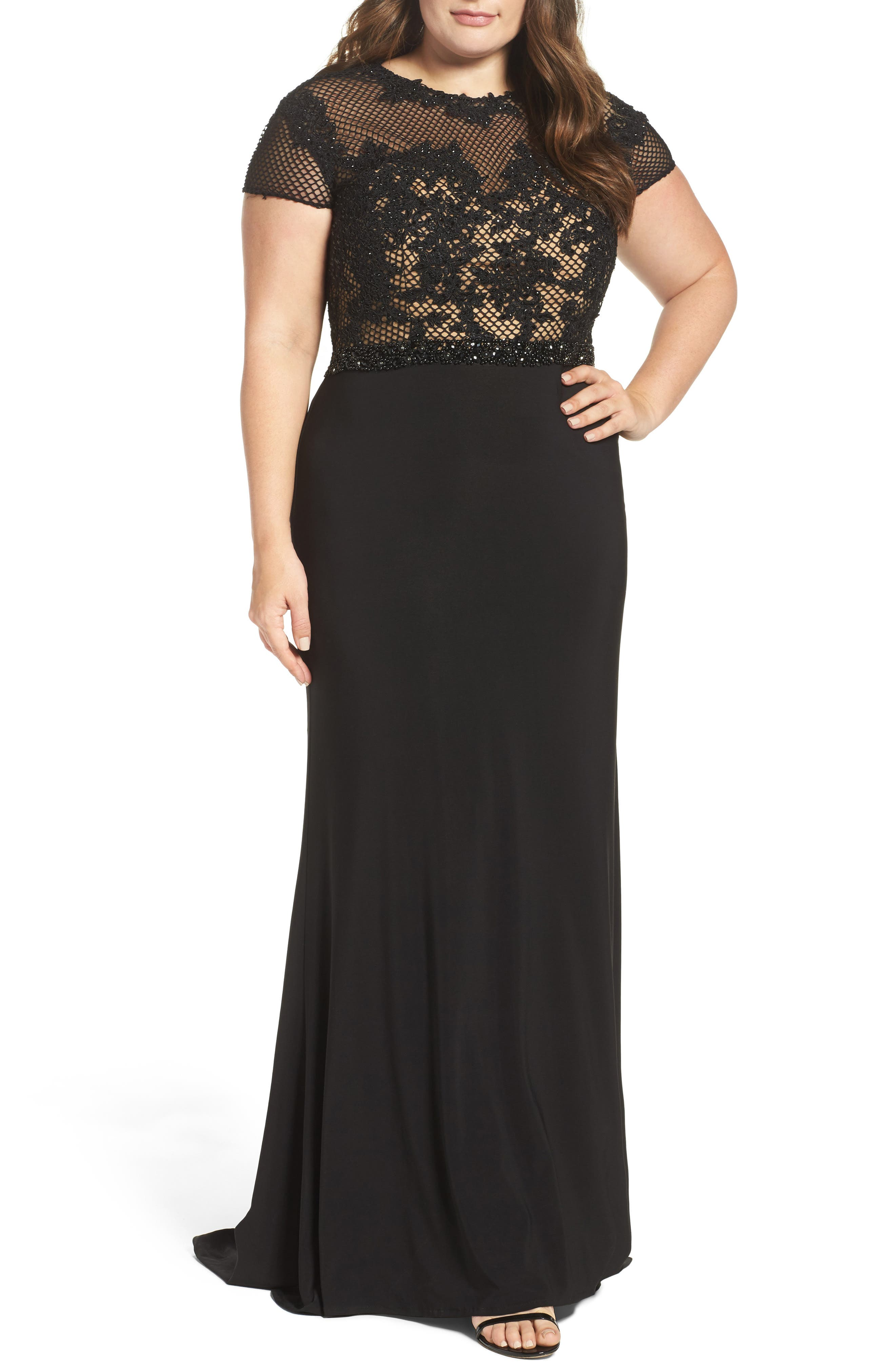Main Image - Mac Duggal Embellished Crochet & Jersey Gown (Plus Size)