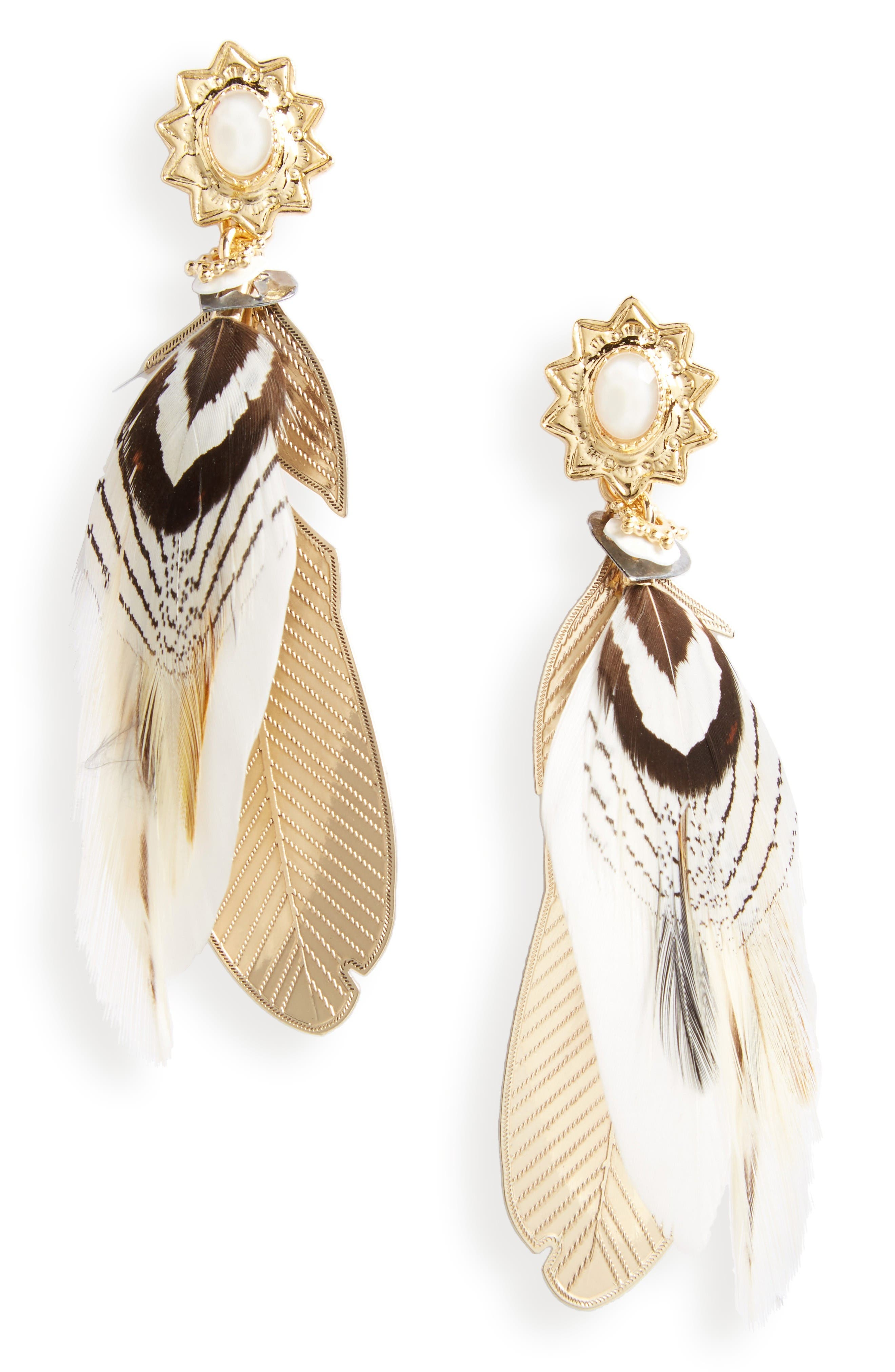 Small Sao Feather Earrings,                         Main,                         color, Beige