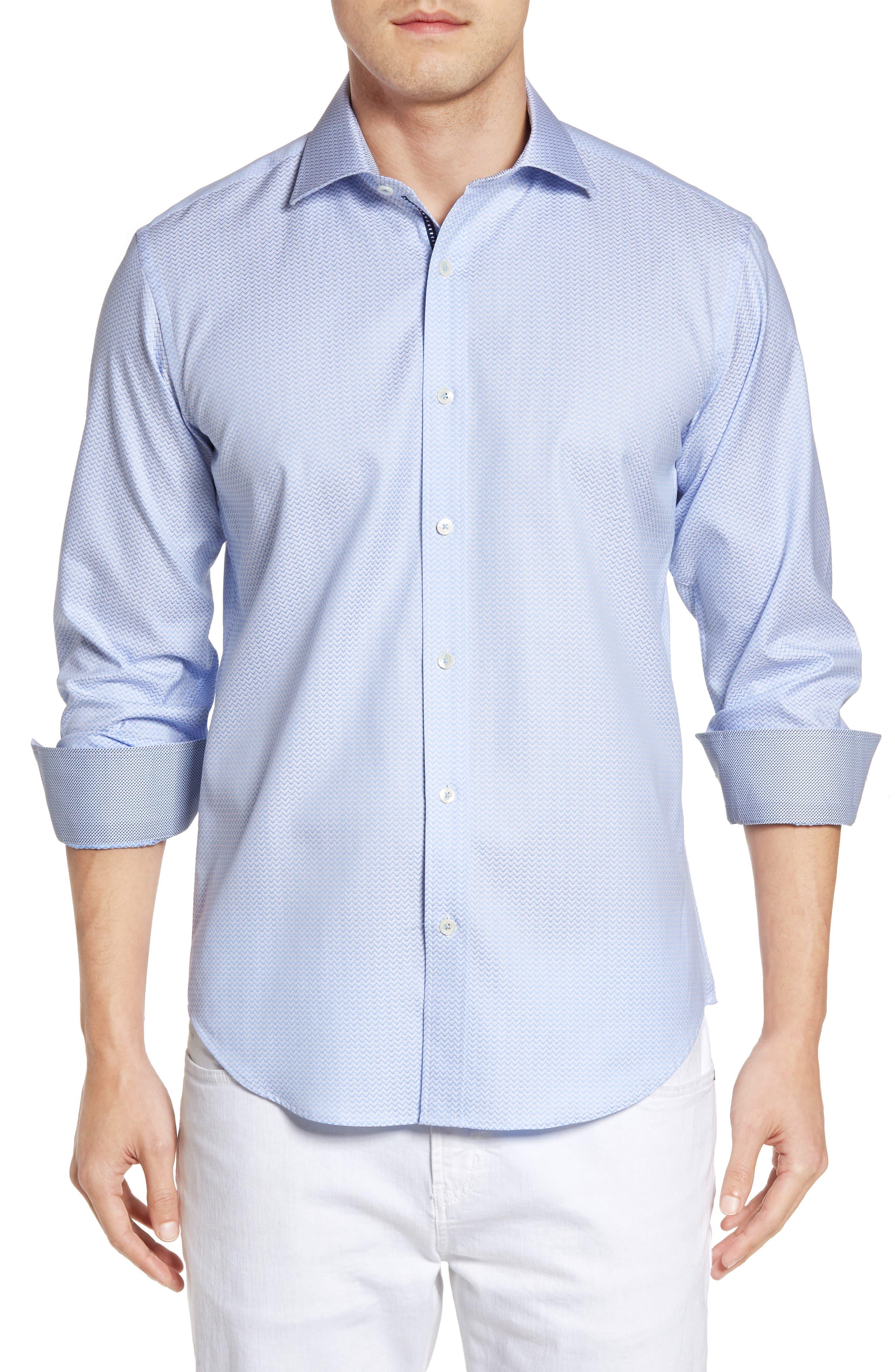 BUGATCHI Shaped Fit Zigzag Jacquard Sport Shirt