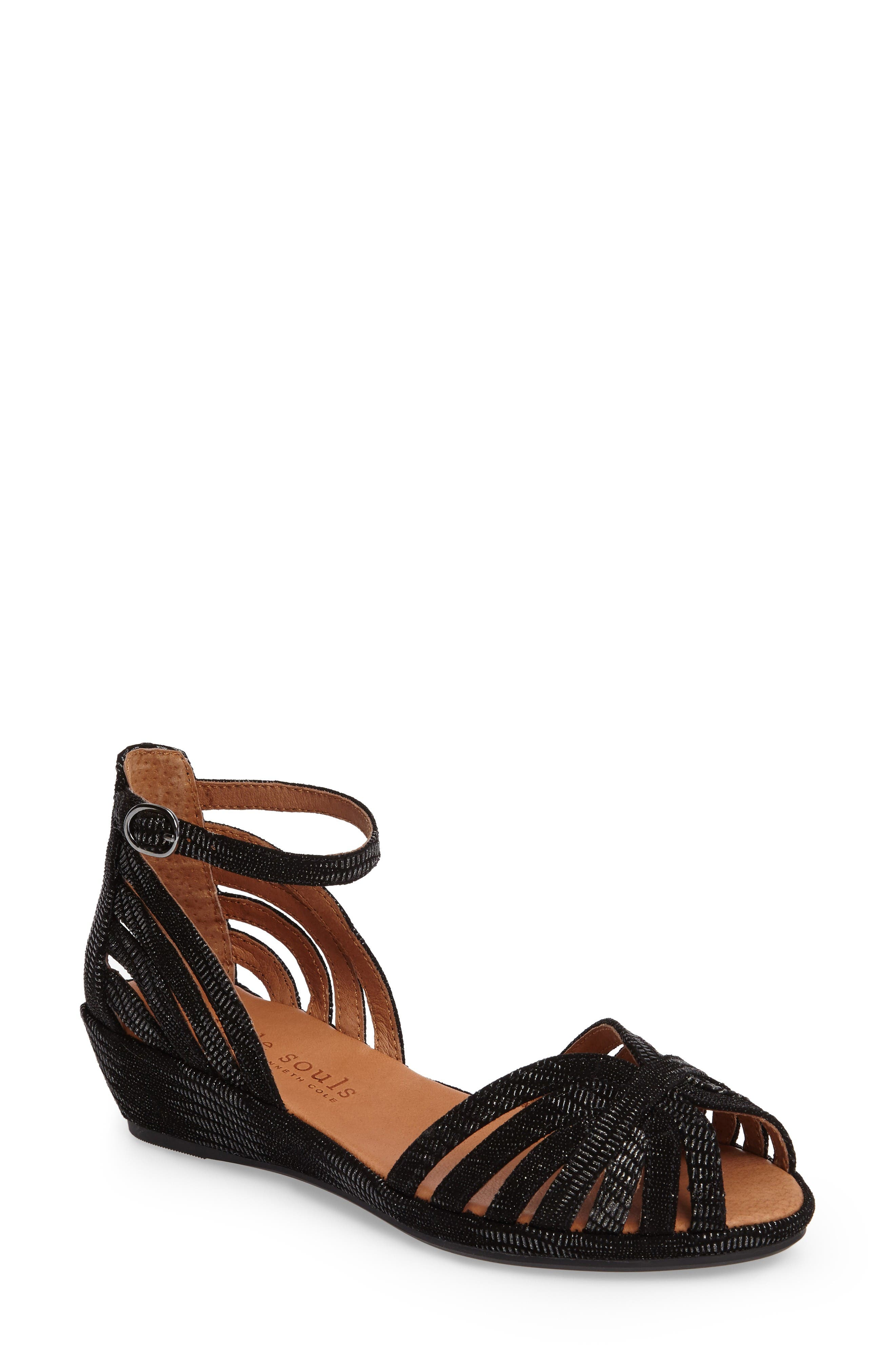 by Kenneth Cole 'Leah' Peep Toe Wedge Sandal,                             Main thumbnail 1, color,                             Black/ Black Leather
