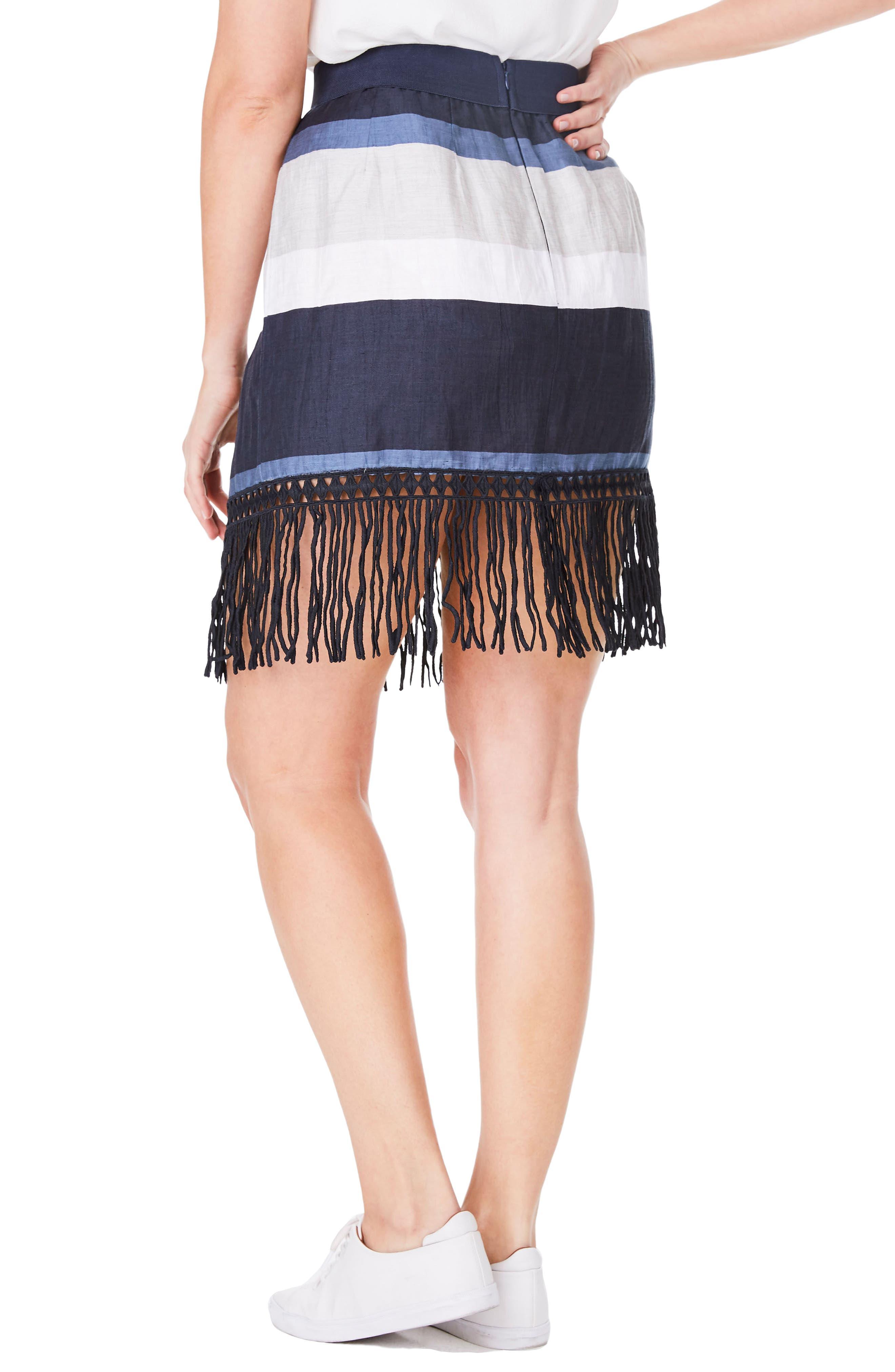 Alternate Image 2  - ELVI Fringe Stripe Linen Blend Skirt (Plus Size)