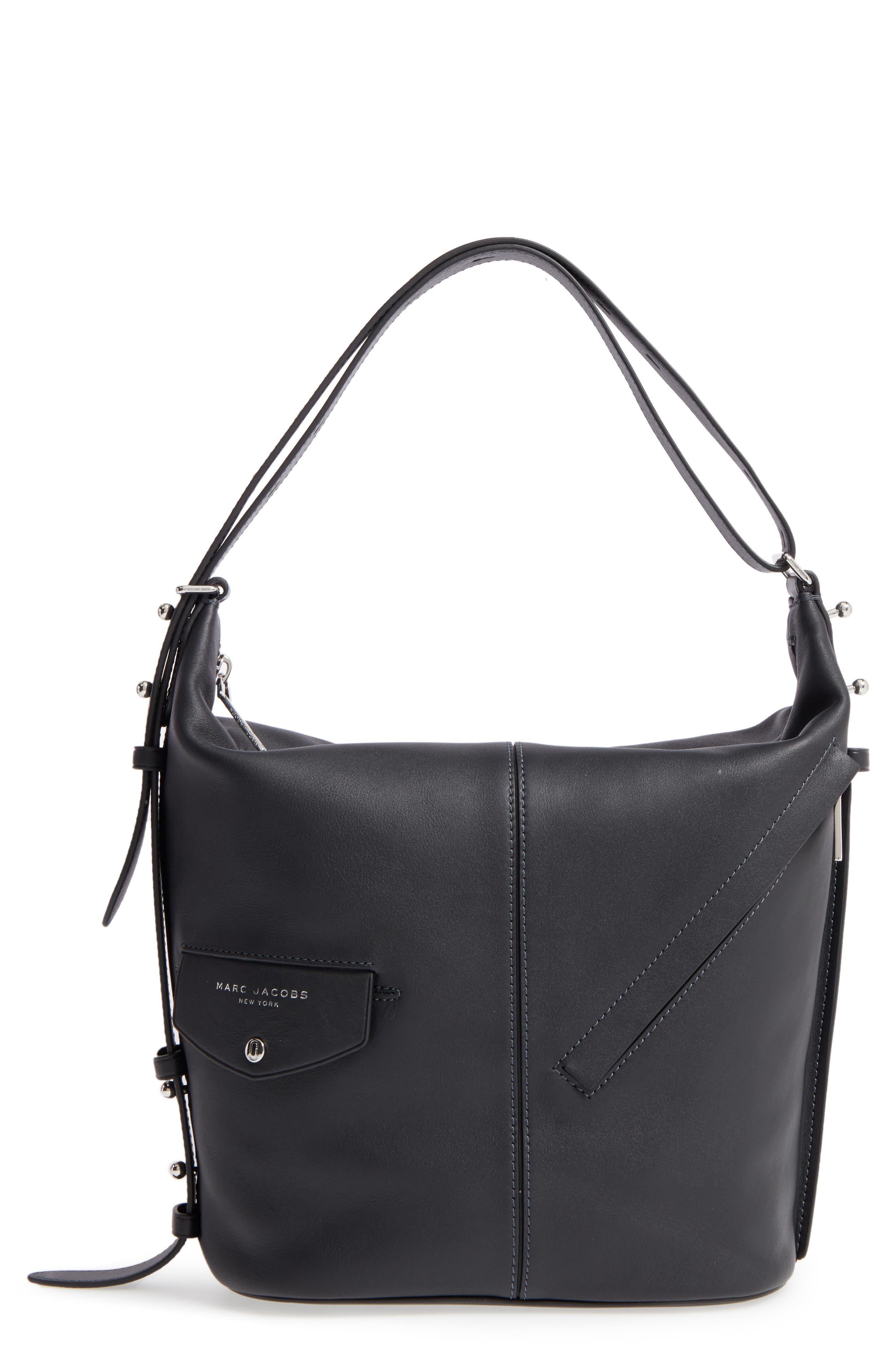 The Sling Convertible Leather Hobo,                             Main thumbnail 1, color,                             Black