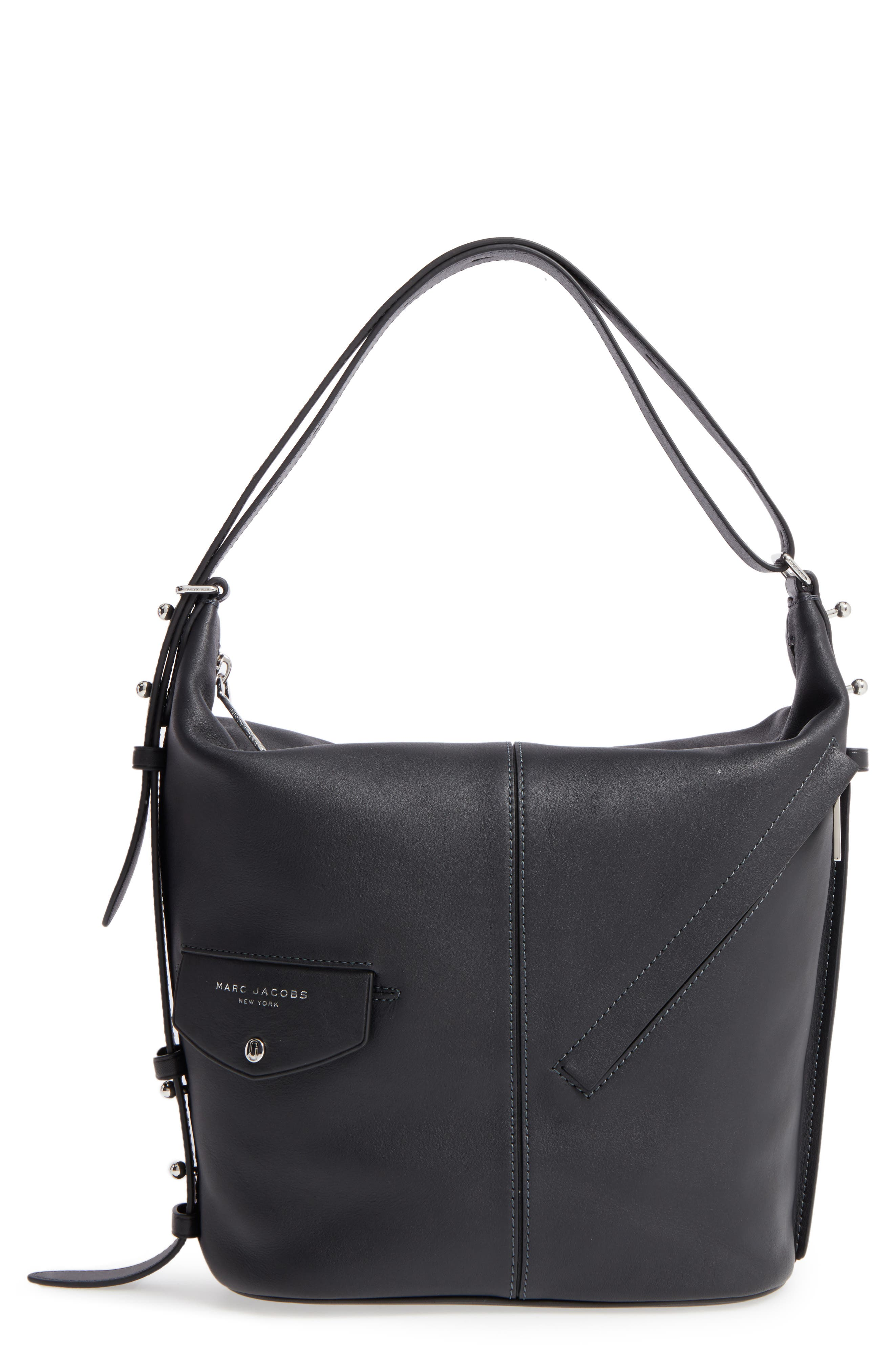 The Sling Convertible Leather Hobo,                         Main,                         color, Black