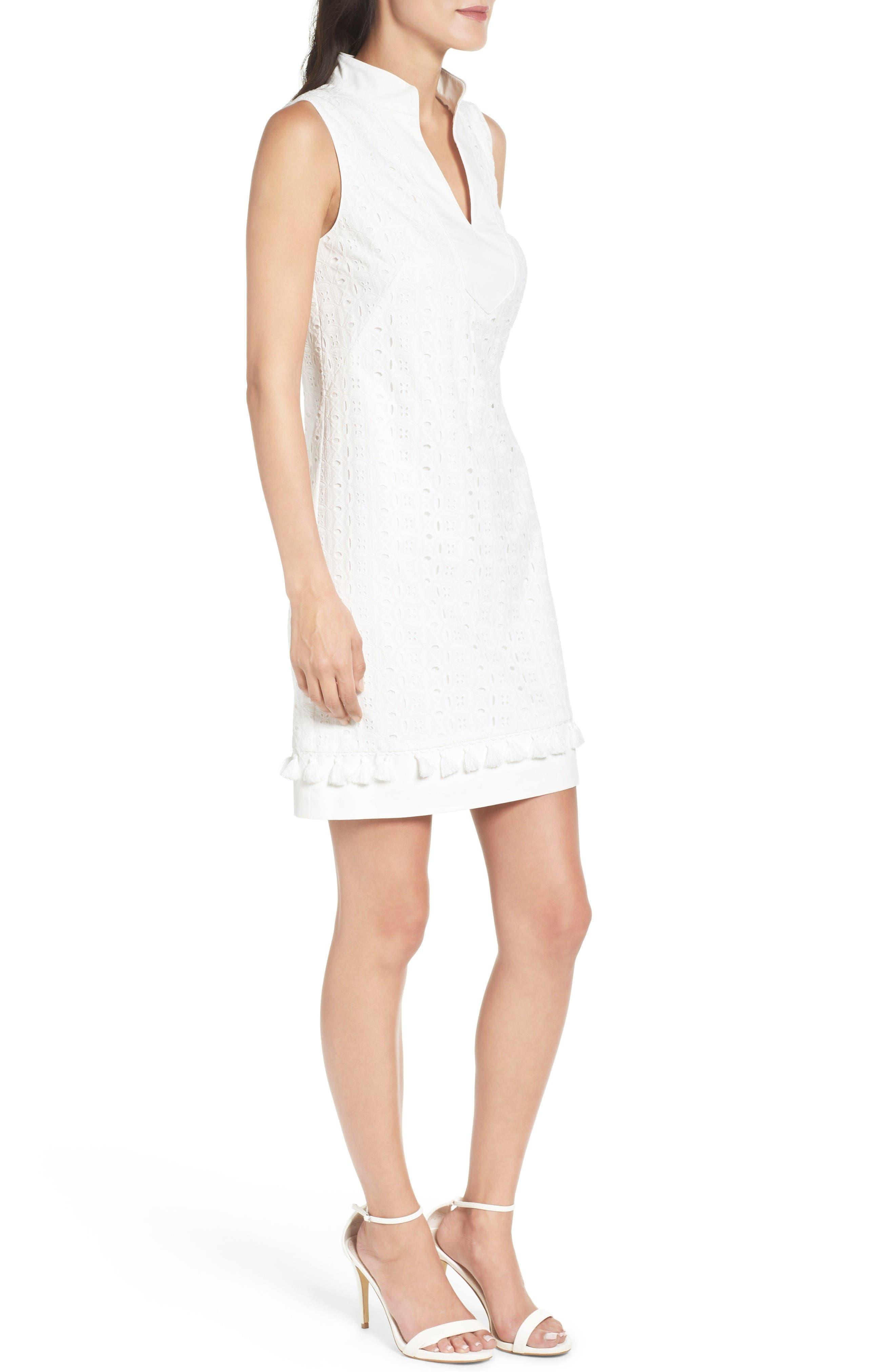 Mandarin Collar Shift Dress,                             Alternate thumbnail 3, color,                             White