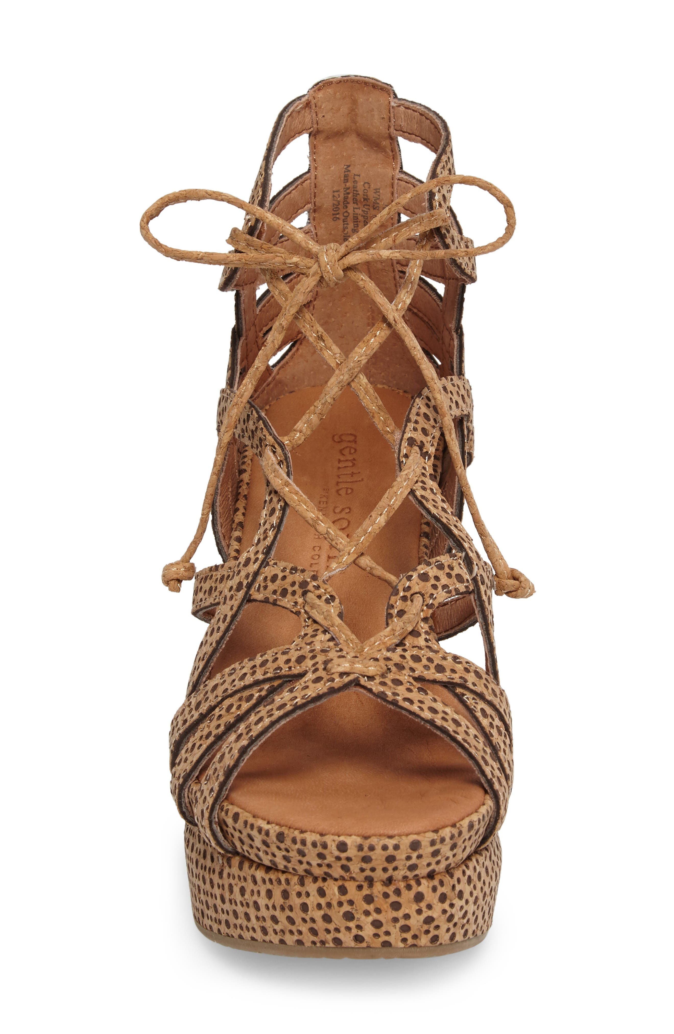 by Kenneth Cole 'Joy' Lace Up Nubuck Sandal,                             Alternate thumbnail 4, color,                             Natural Combo