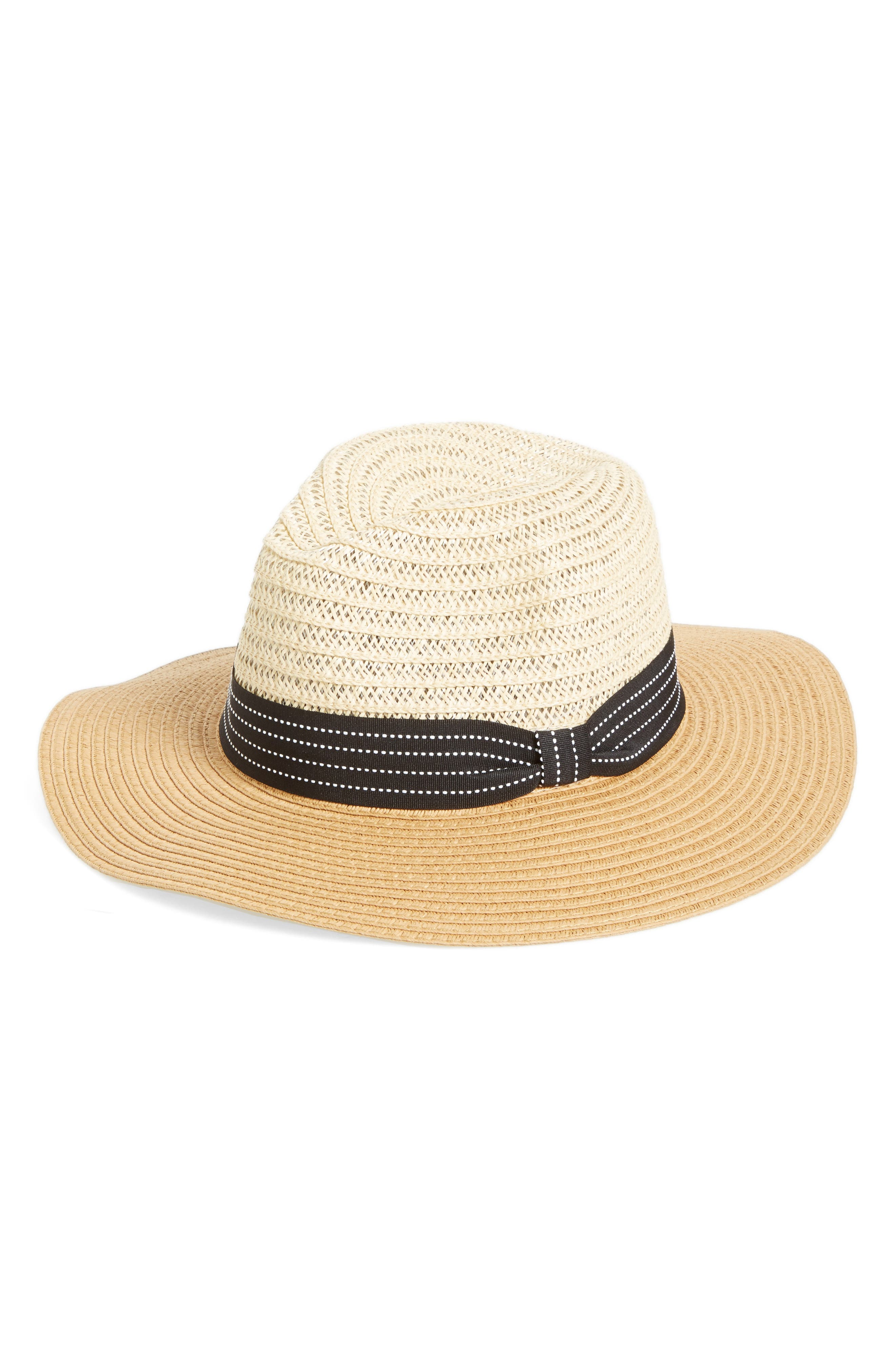 Two Tone Straw Panama Hat,                         Main,                         color, Natural