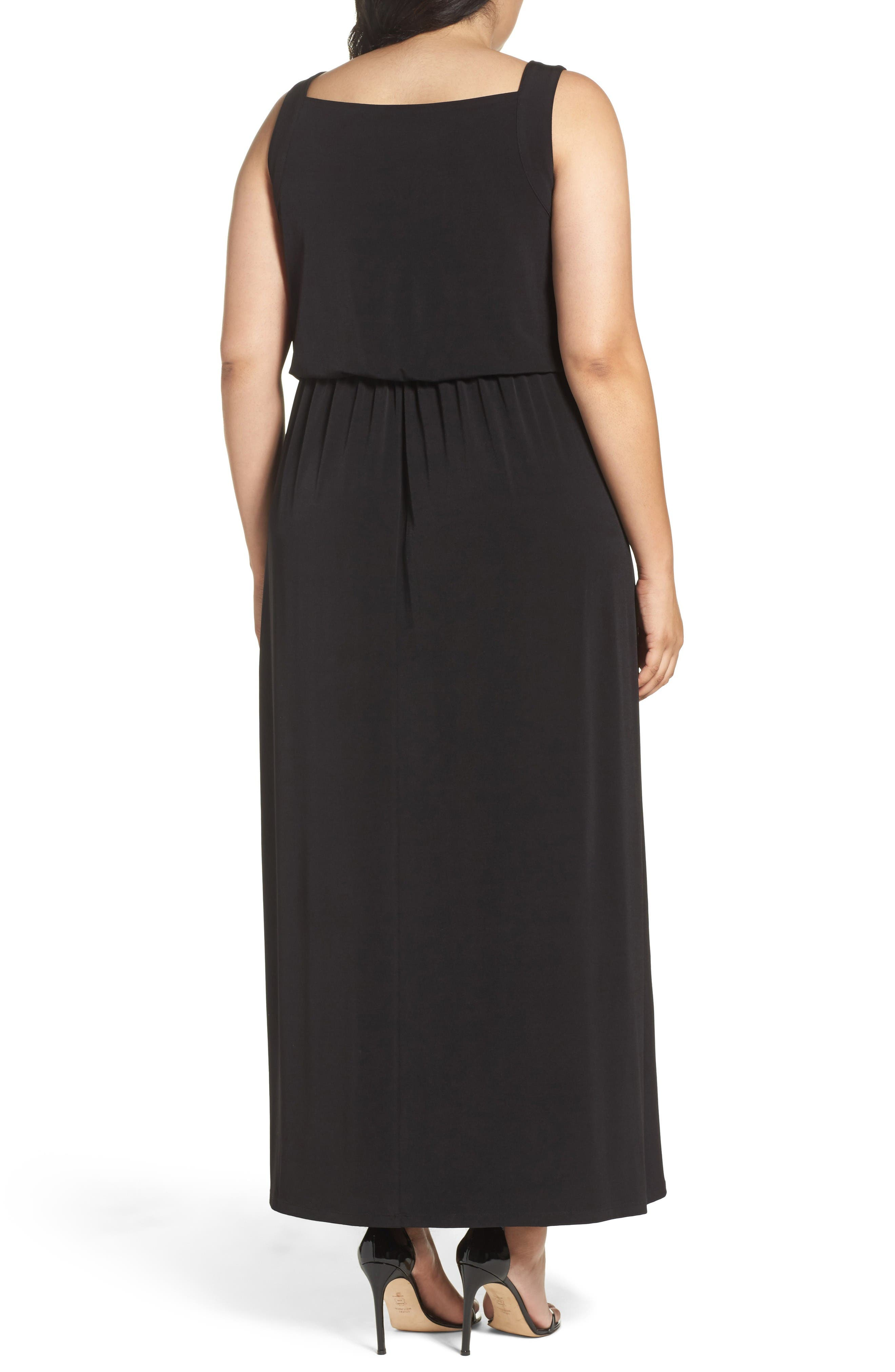 Alternate Image 2  - London Times Contrast Underlay Jersey Maxi Dress (Plus Size)