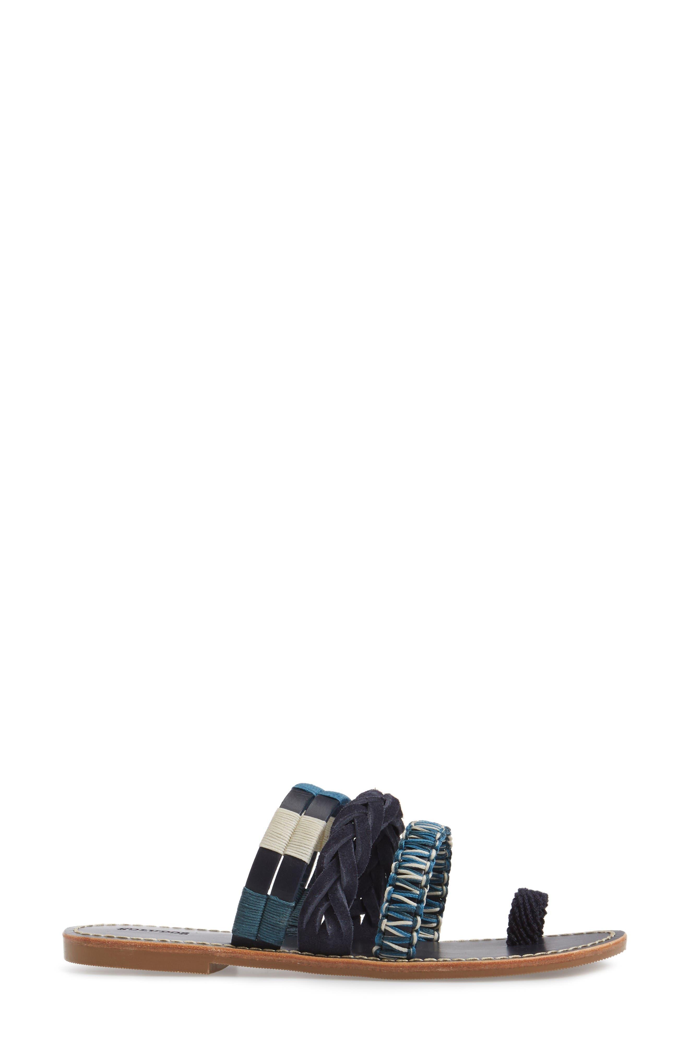 Slide Sandal,                             Alternate thumbnail 4, color,                             Midnight/ Blue Multi Leather