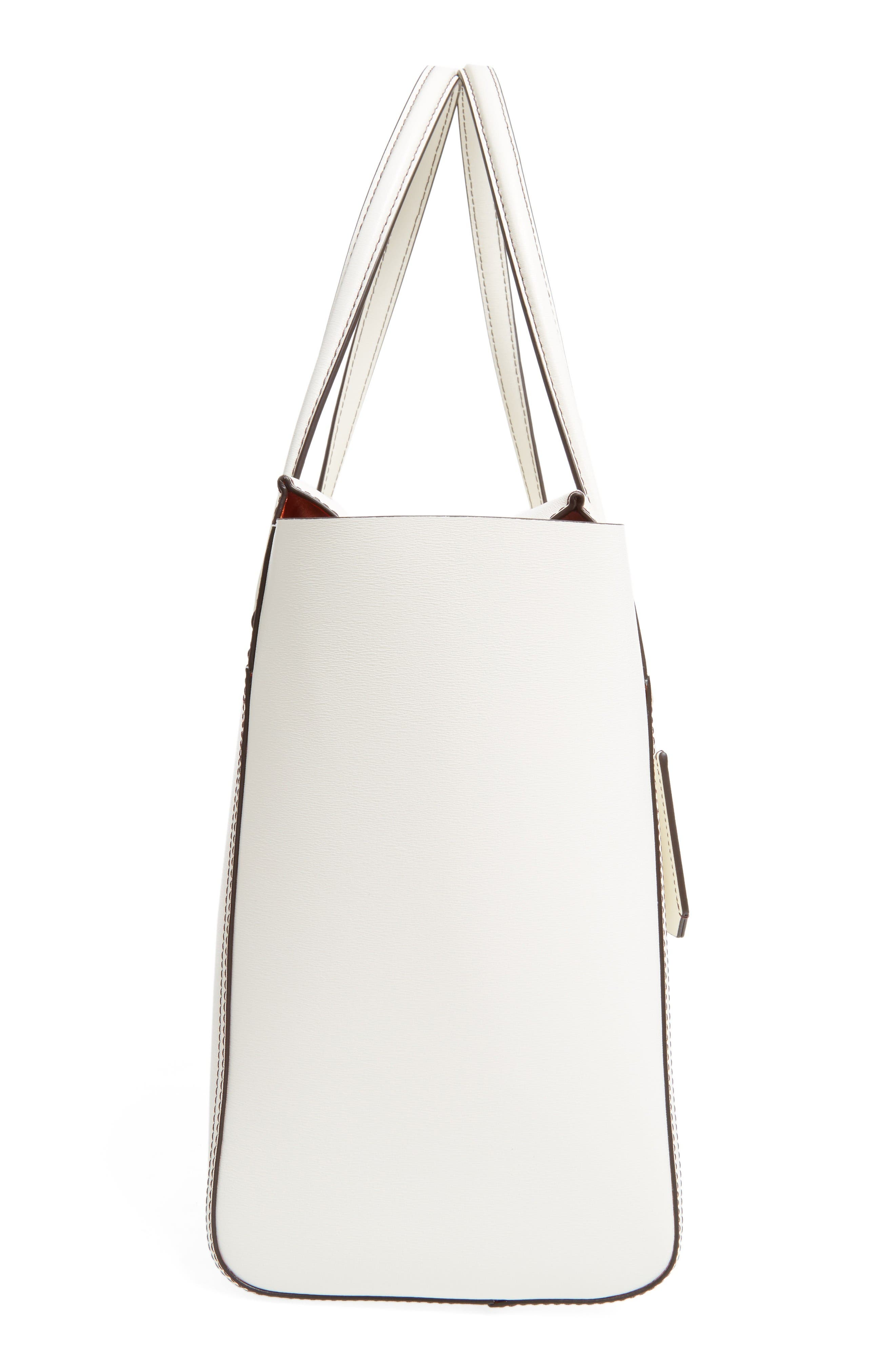 Parker Leather Tote,                             Alternate thumbnail 5, color,                             New Ivory/ Mango