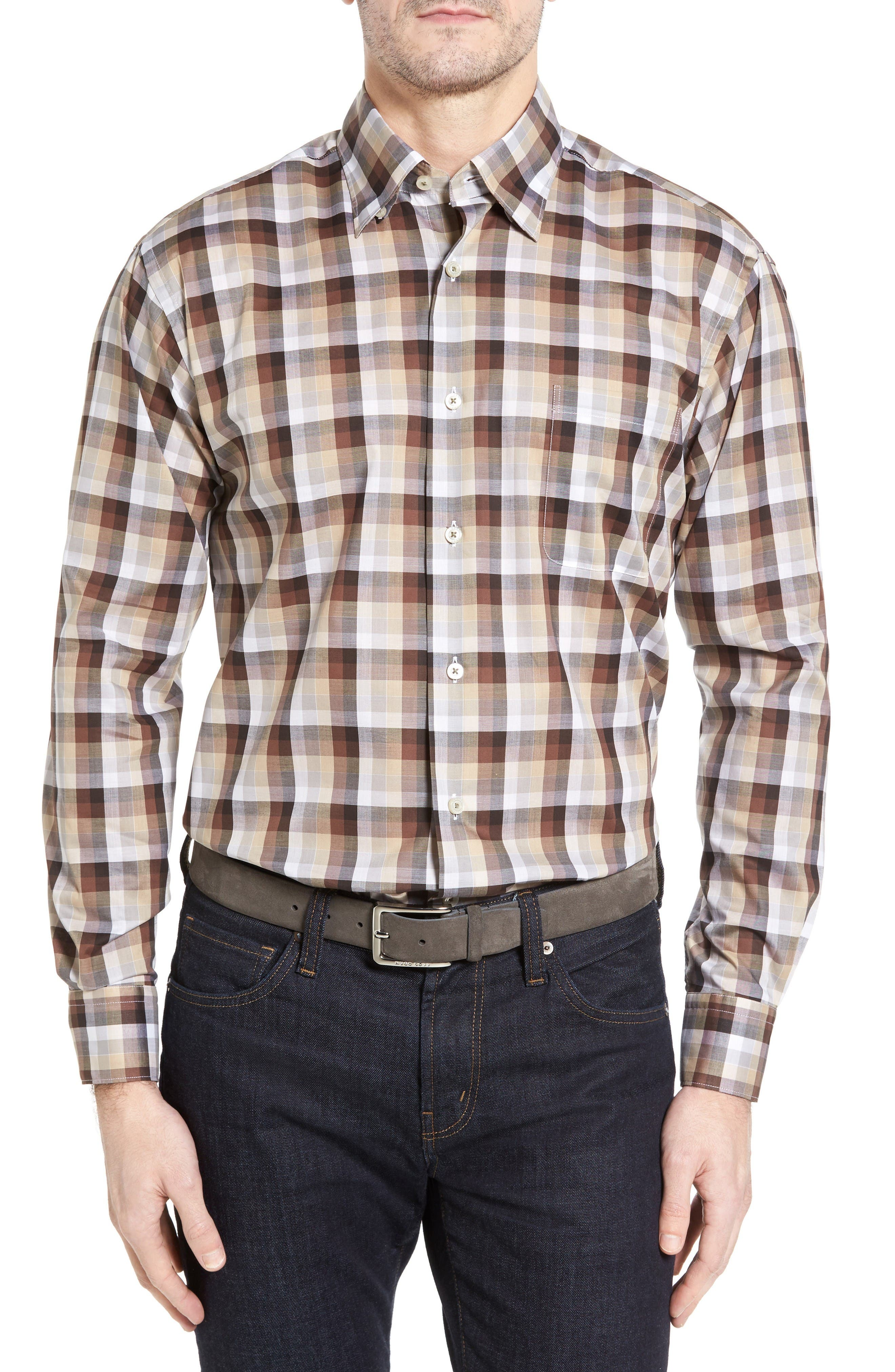 Anderson Classic Fit Check Sport Shirt,                         Main,                         color, Brown