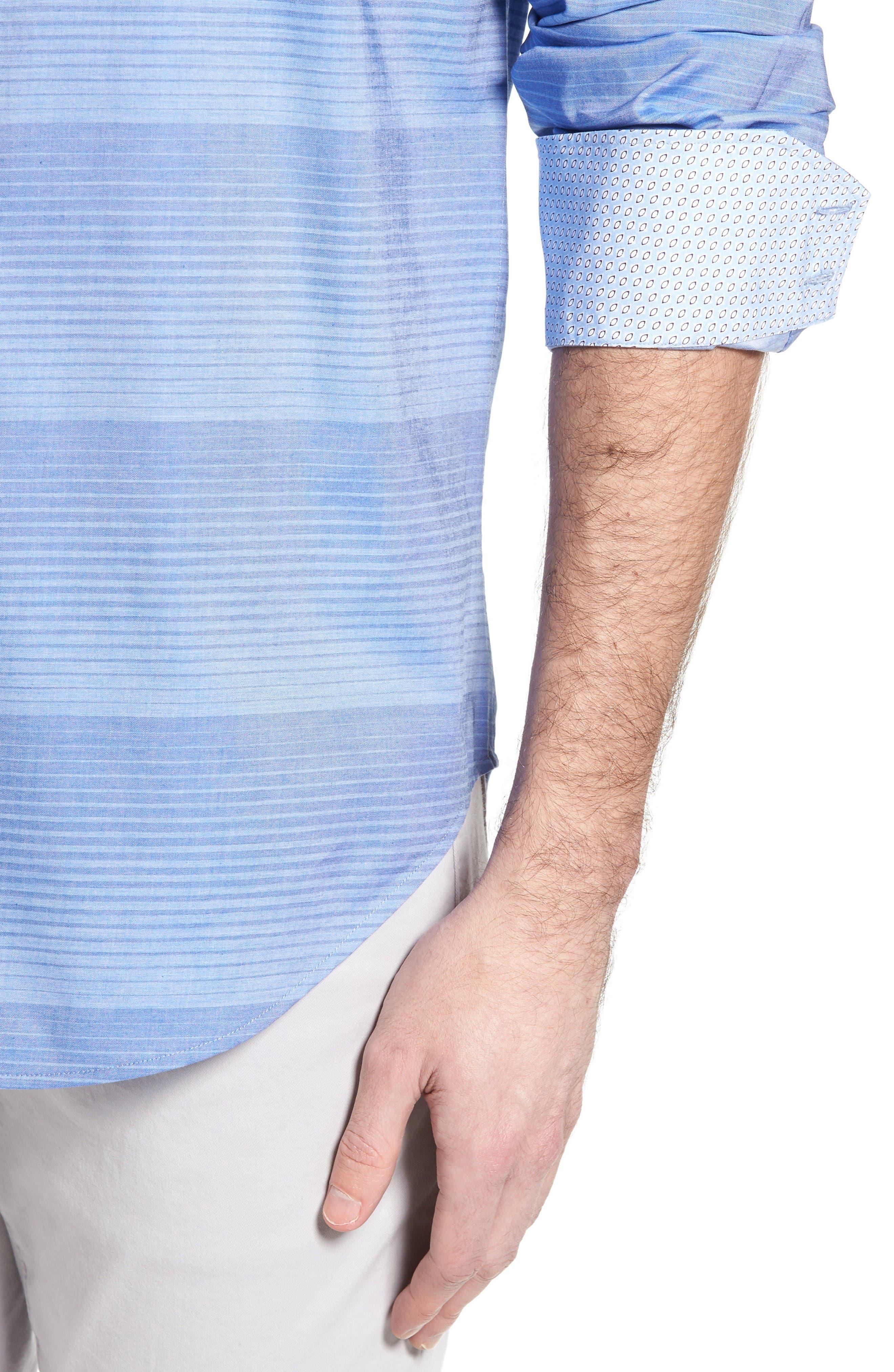 Alternate Image 4  - Thomas Dean Classic Fit Graduated Stripe Sport Shirt