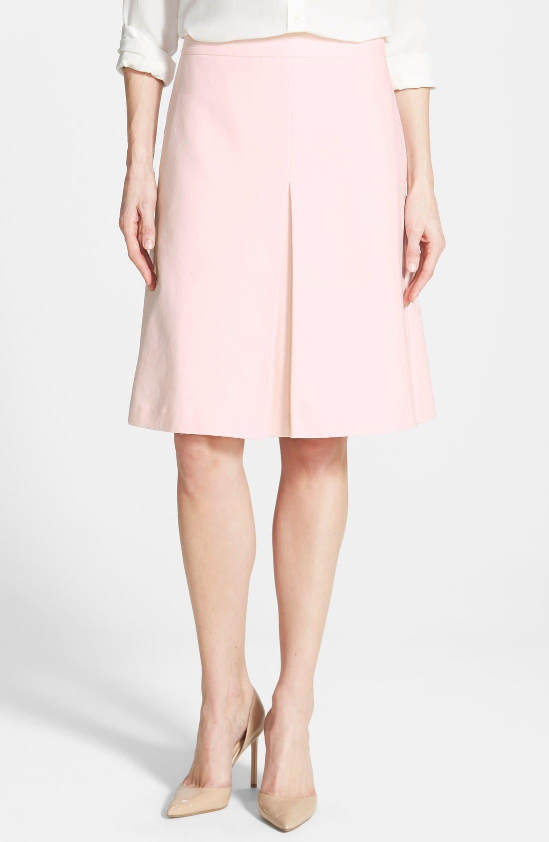 Main Image - Vince Camuto Pleat Front A-Line Skirt (Regular & Petite)