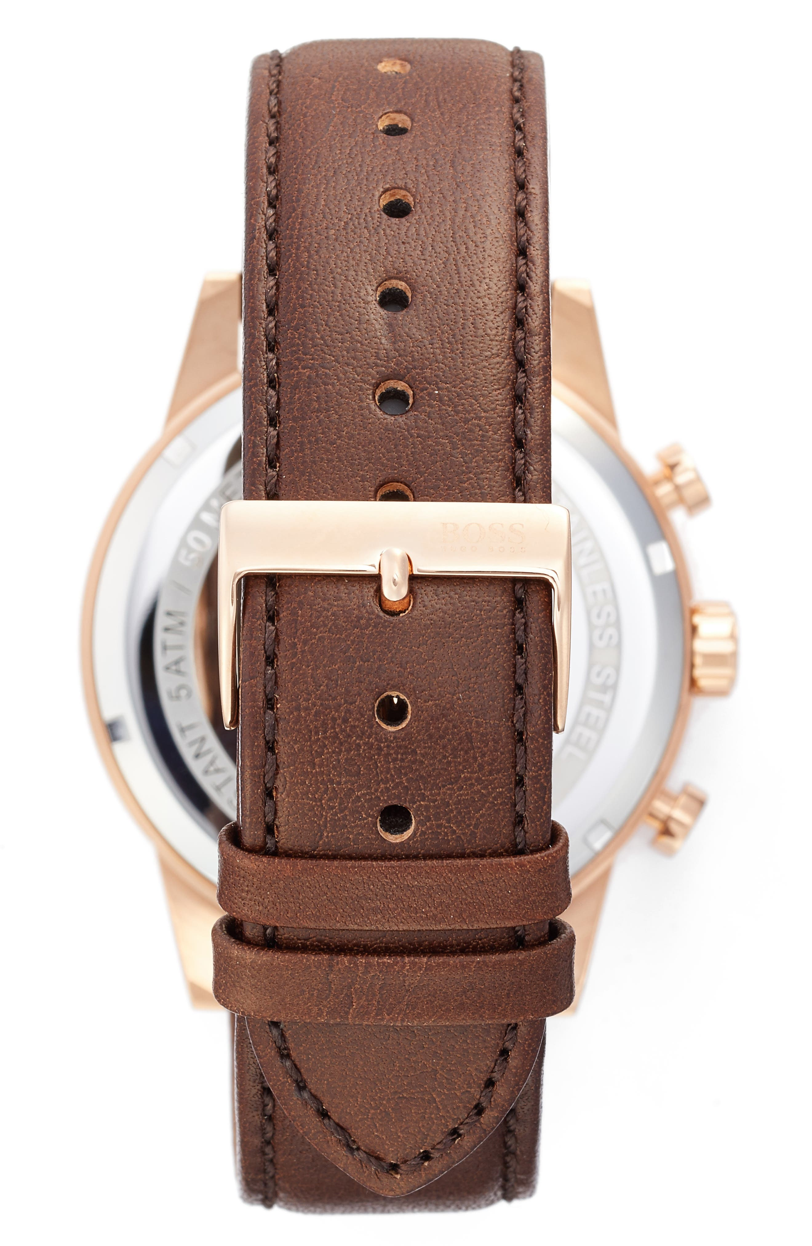 Alternate Image 2  - BOSS Navigator Chronograph Leather Strap Watch, 44mm