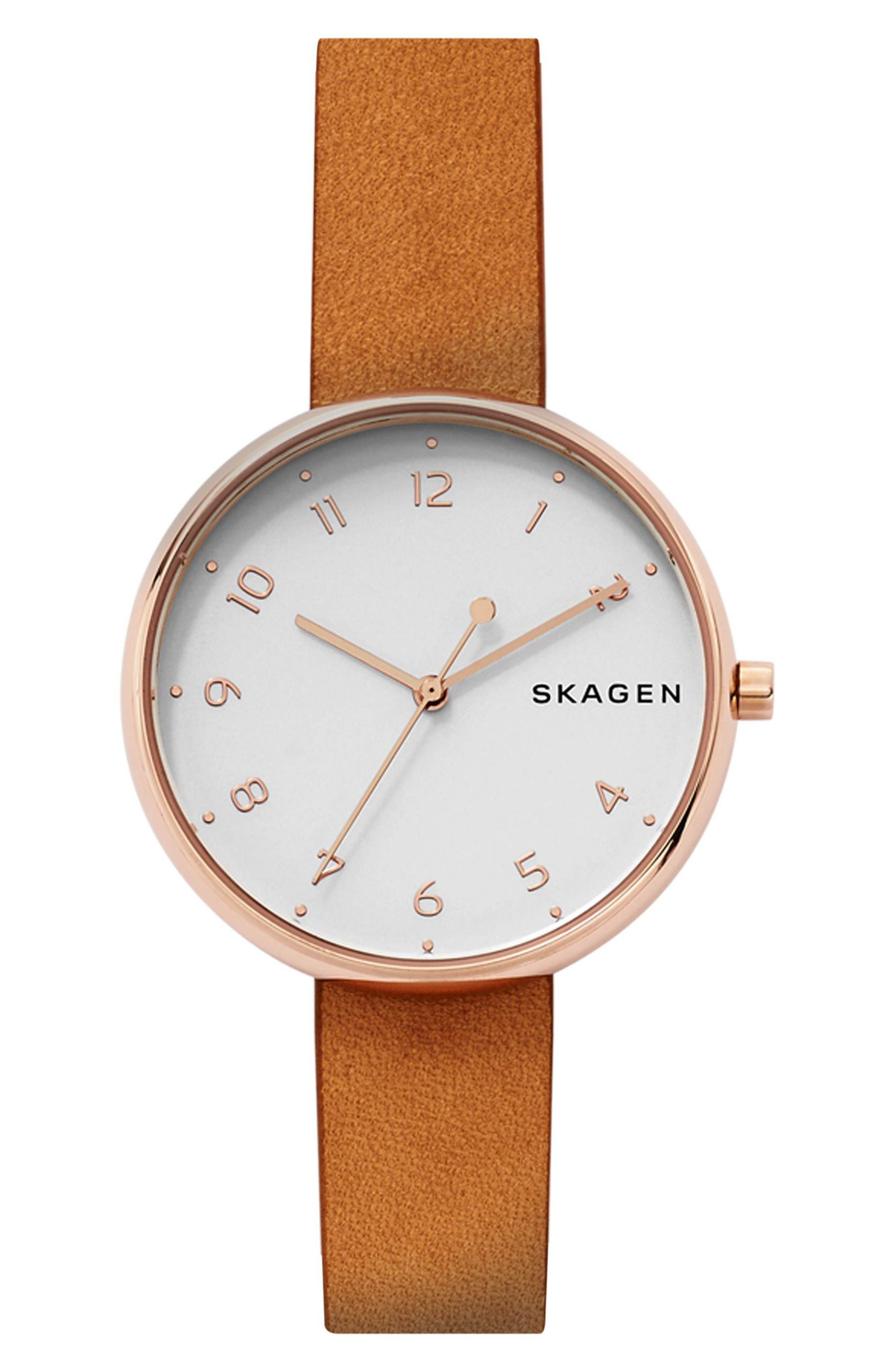 Signatur Leather Strap Watch, 36mm,                         Main,                         color, Brown/ White/ Rose Gold