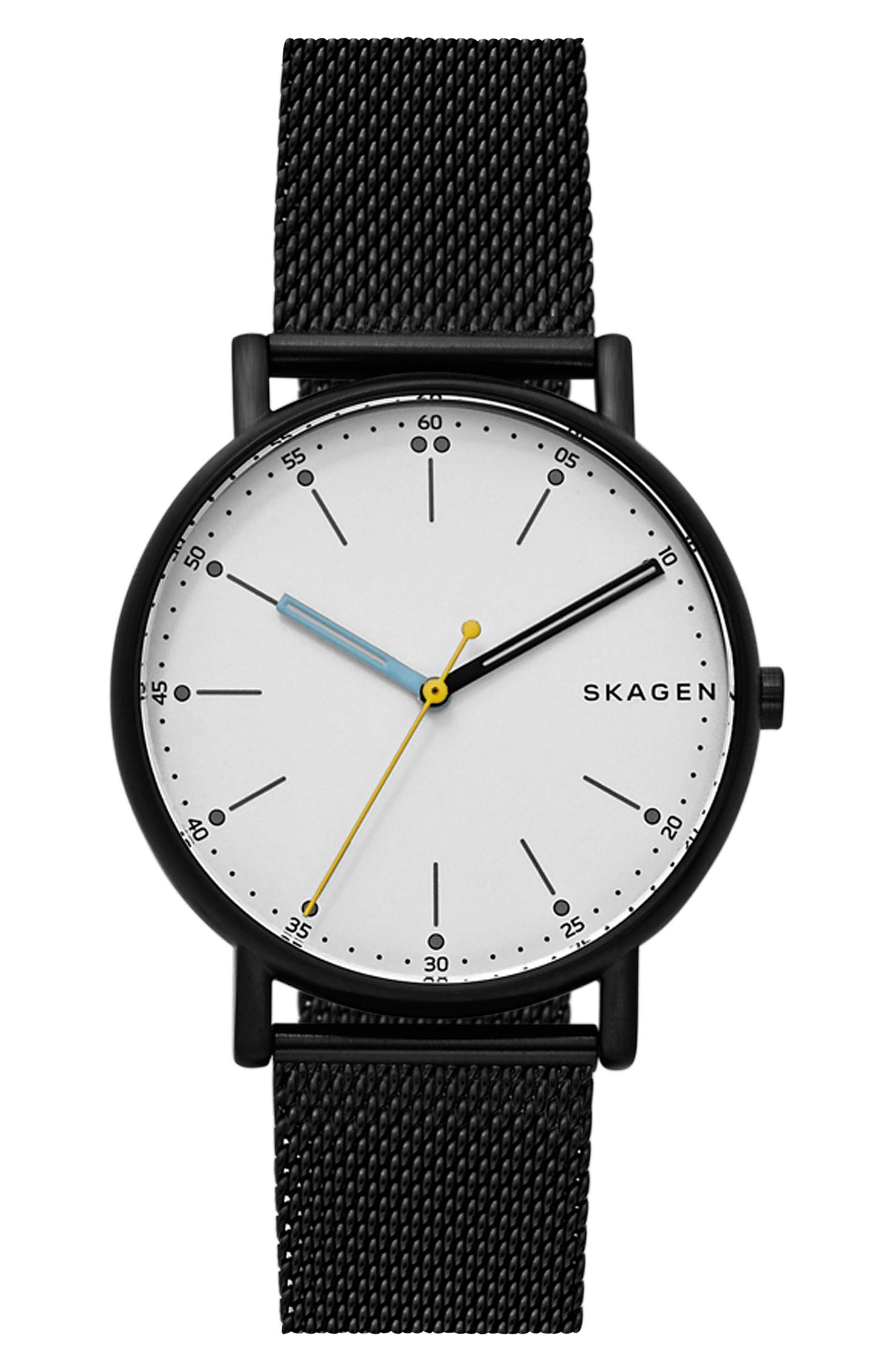 Signatur Mesh Strap Watch, 40mm,                         Main,                         color, Blue/ White/ Gold