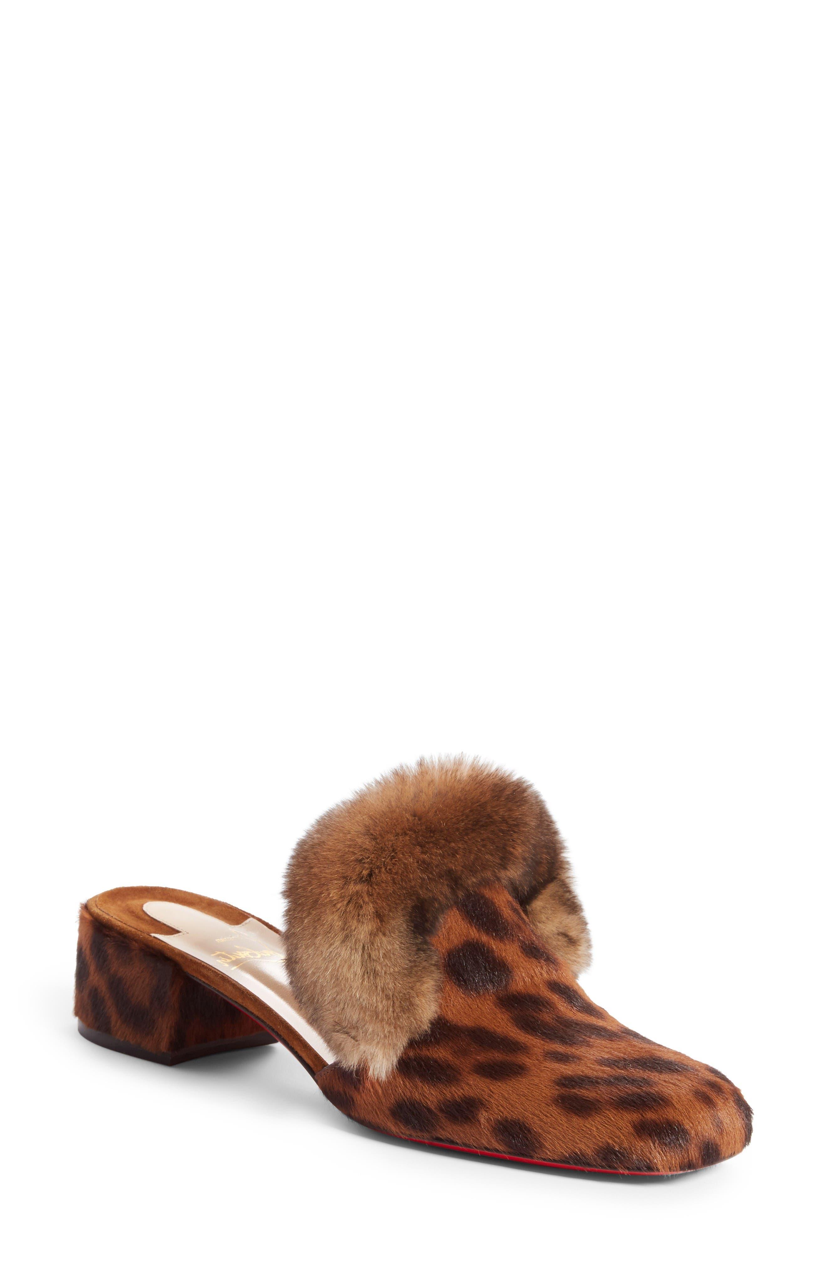 Christian Louboutin Boudiva Genuine Rabbit Fur Trim Mule (Women)
