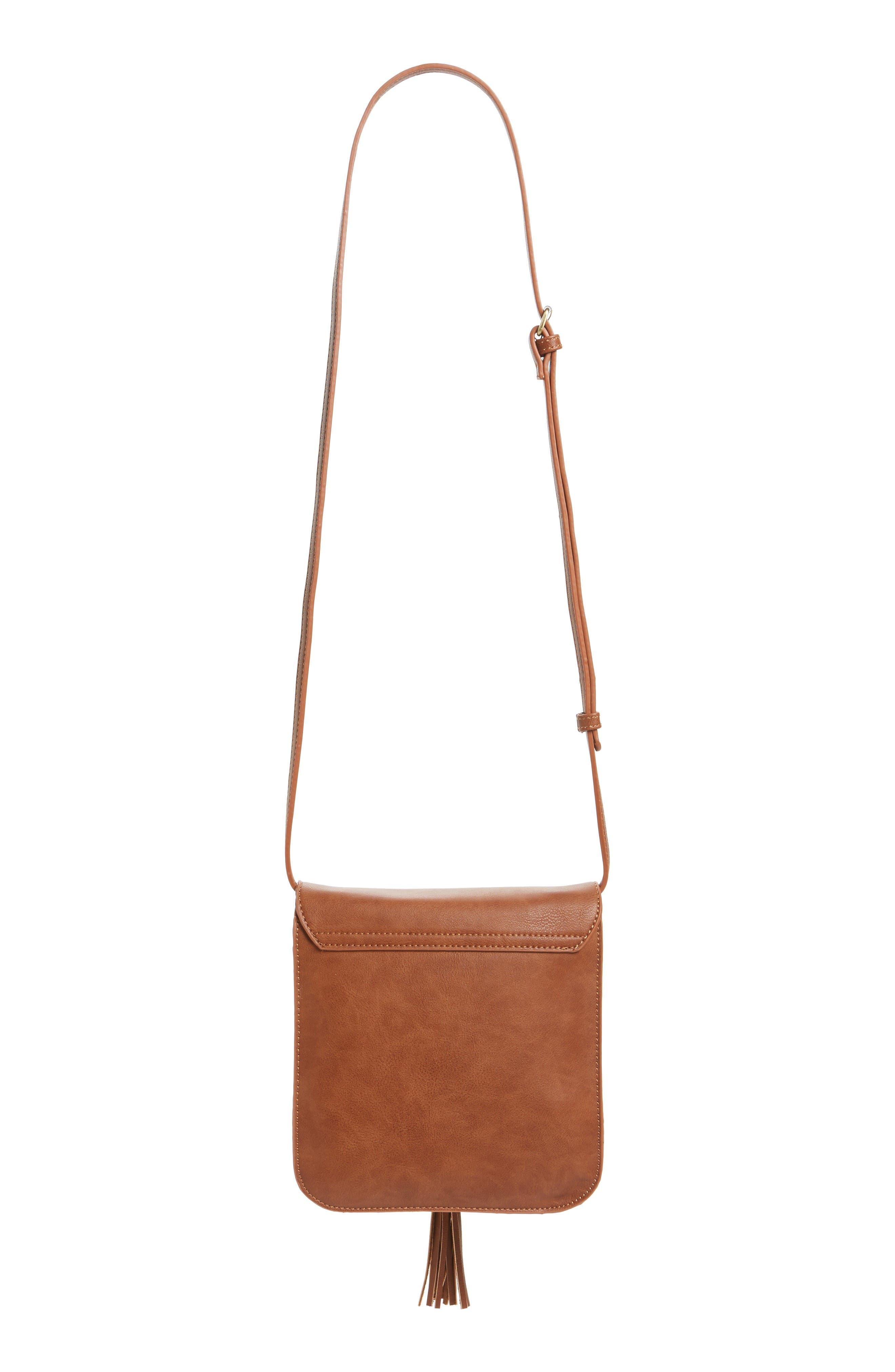 Square Crossbody Bag,                             Alternate thumbnail 3, color,                             Cognac